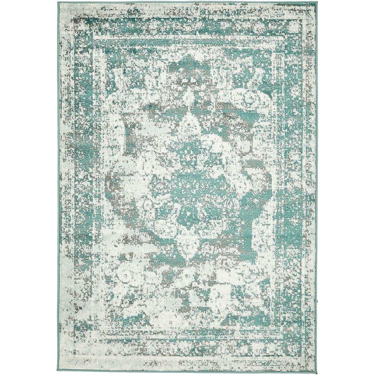 Bungalow Rose Ford Turquoise/Gray/White Area Rug