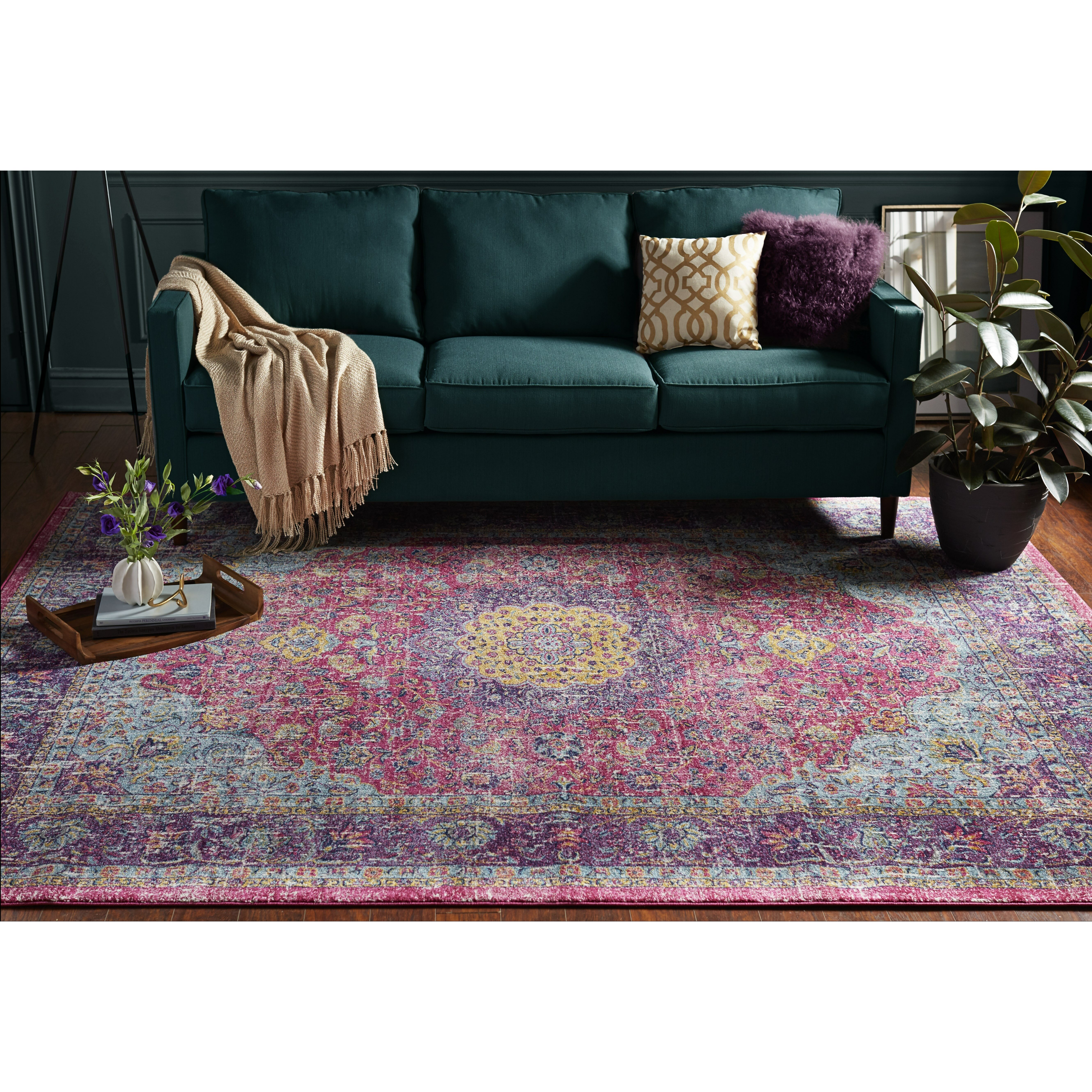 pink rugs for living room bungalow varun pink purple area rug amp reviews wayfair 23513