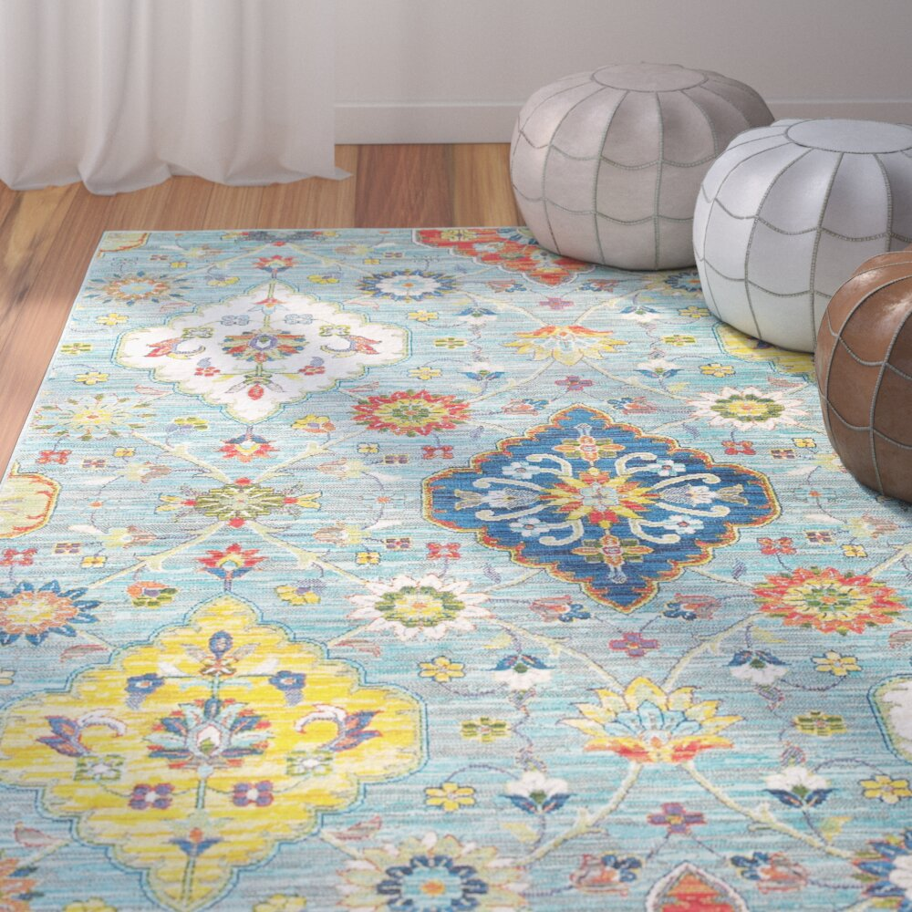 Bungalow Rose Mansi Blue Yellow Area Rug Amp Reviews