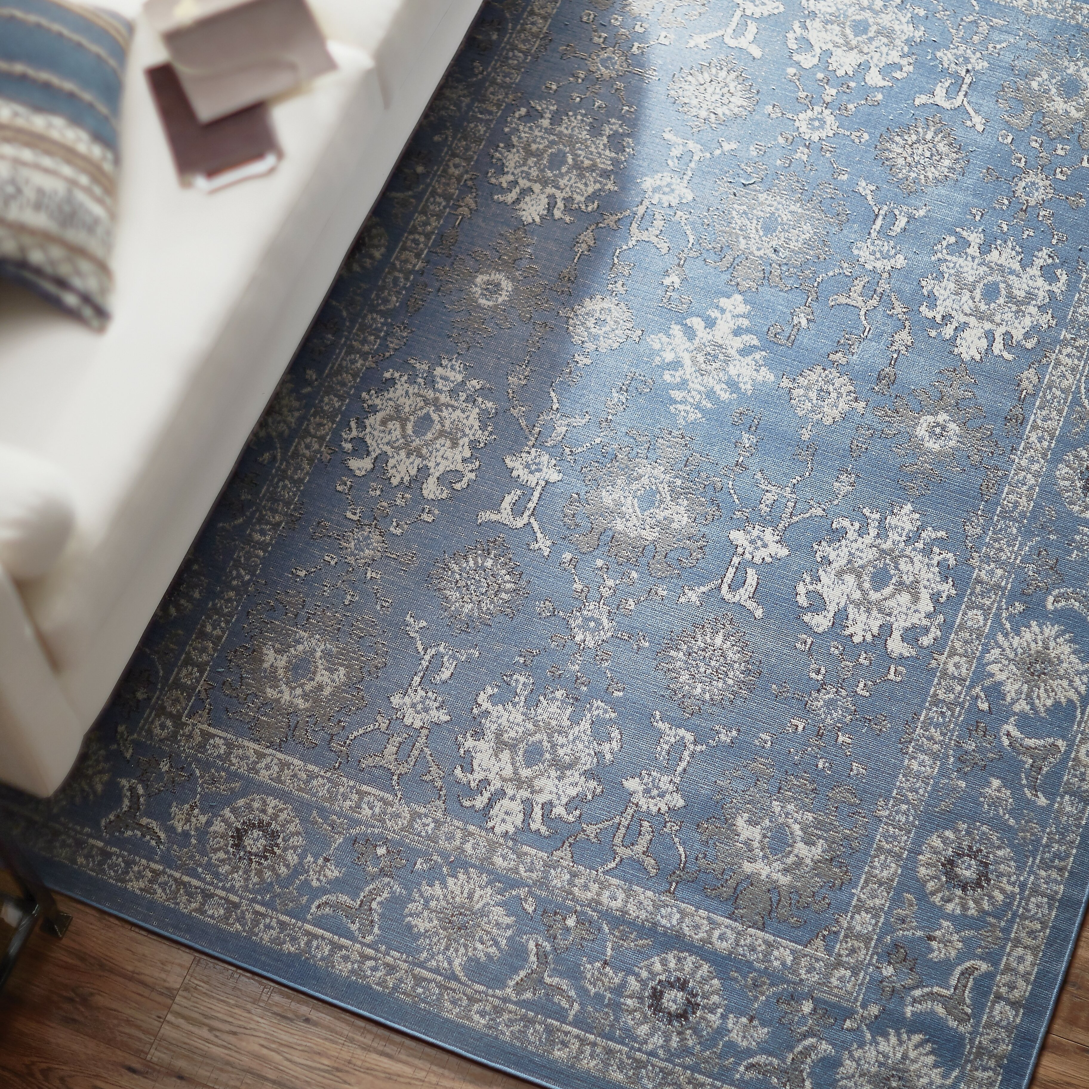 Bungalow Rose Septfontaines Blue/Gray Area Rug