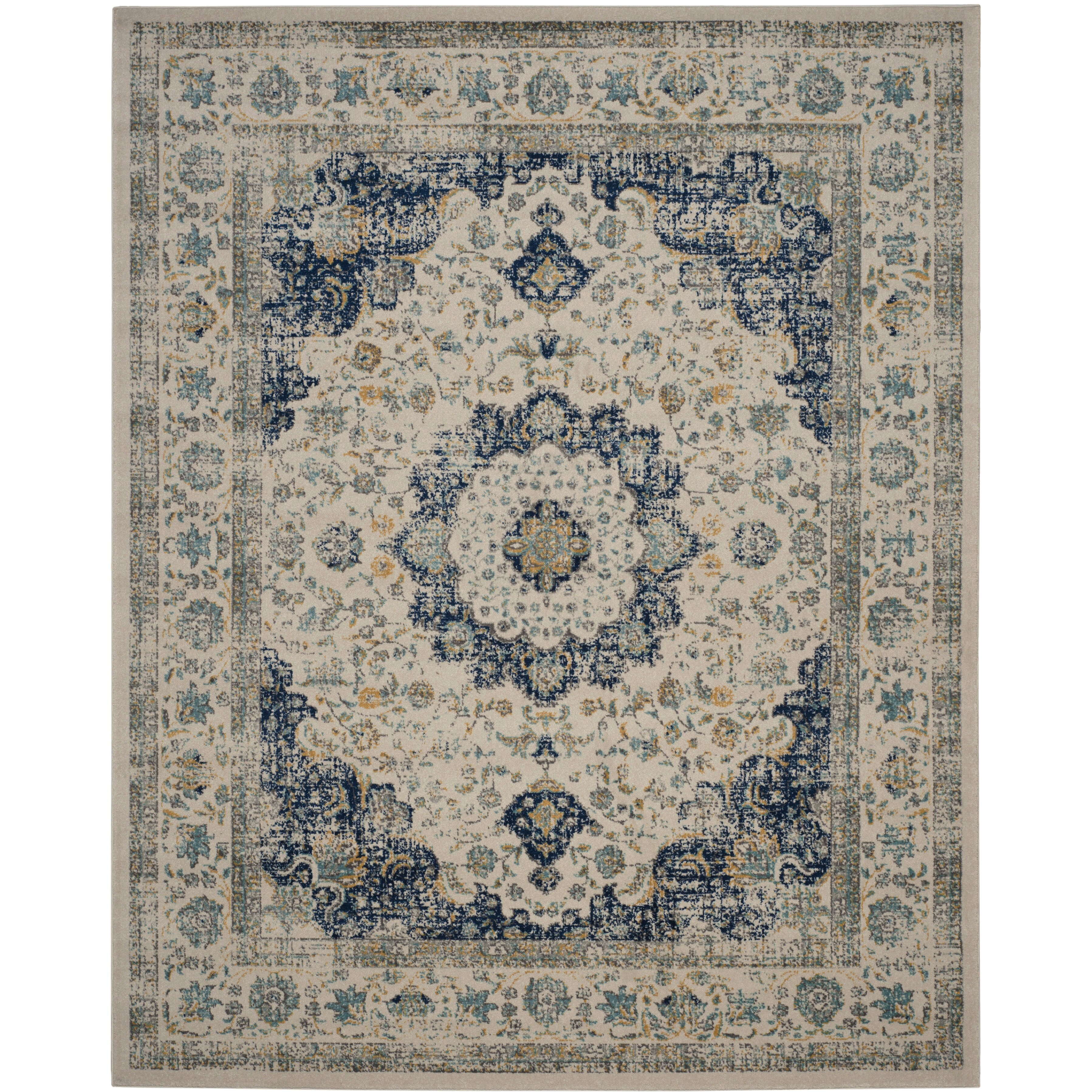 Bungalow Rose Ameesha Ivory Blue Area Rug Amp Reviews