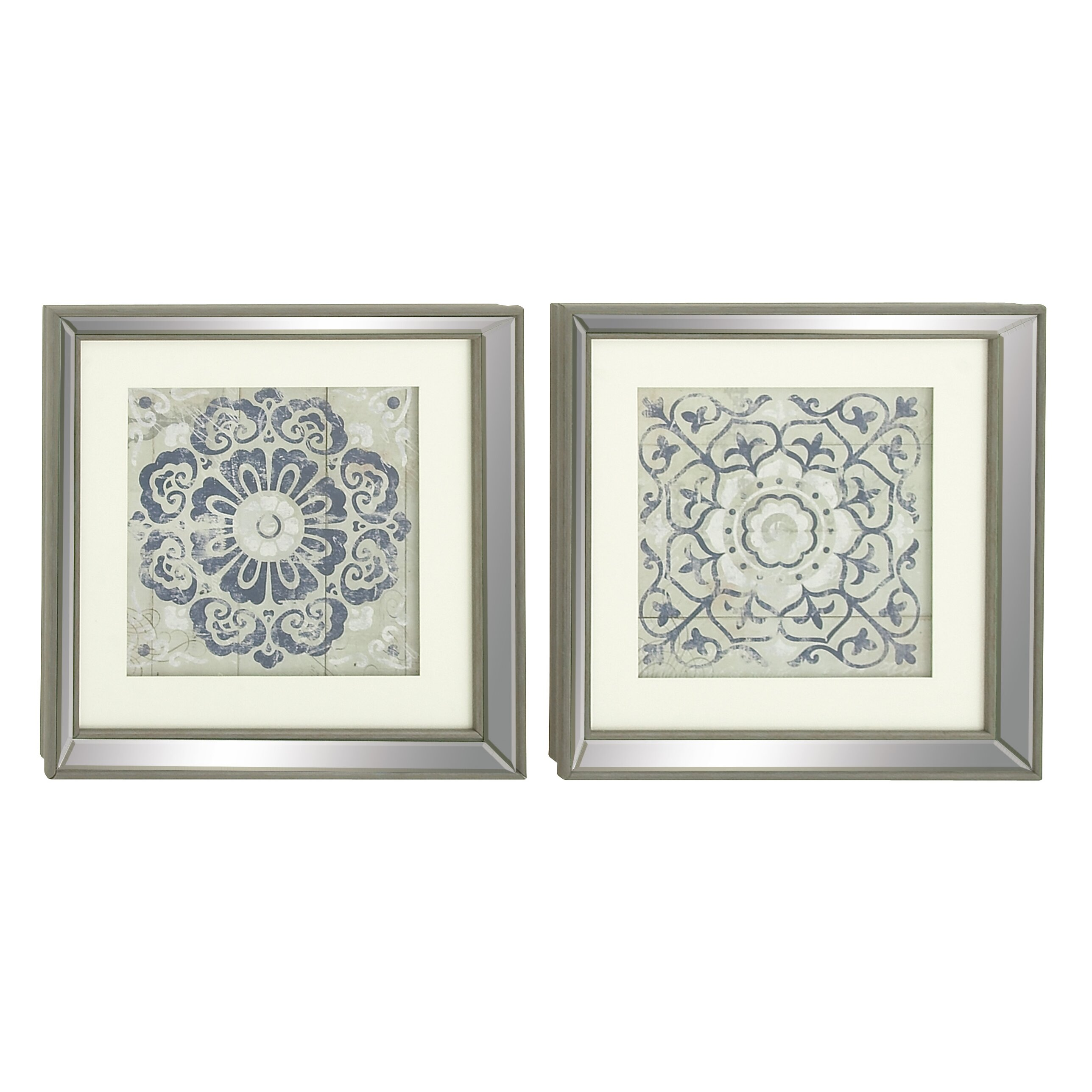 bungalow rose 2 piece polystone mirror framed wall art set