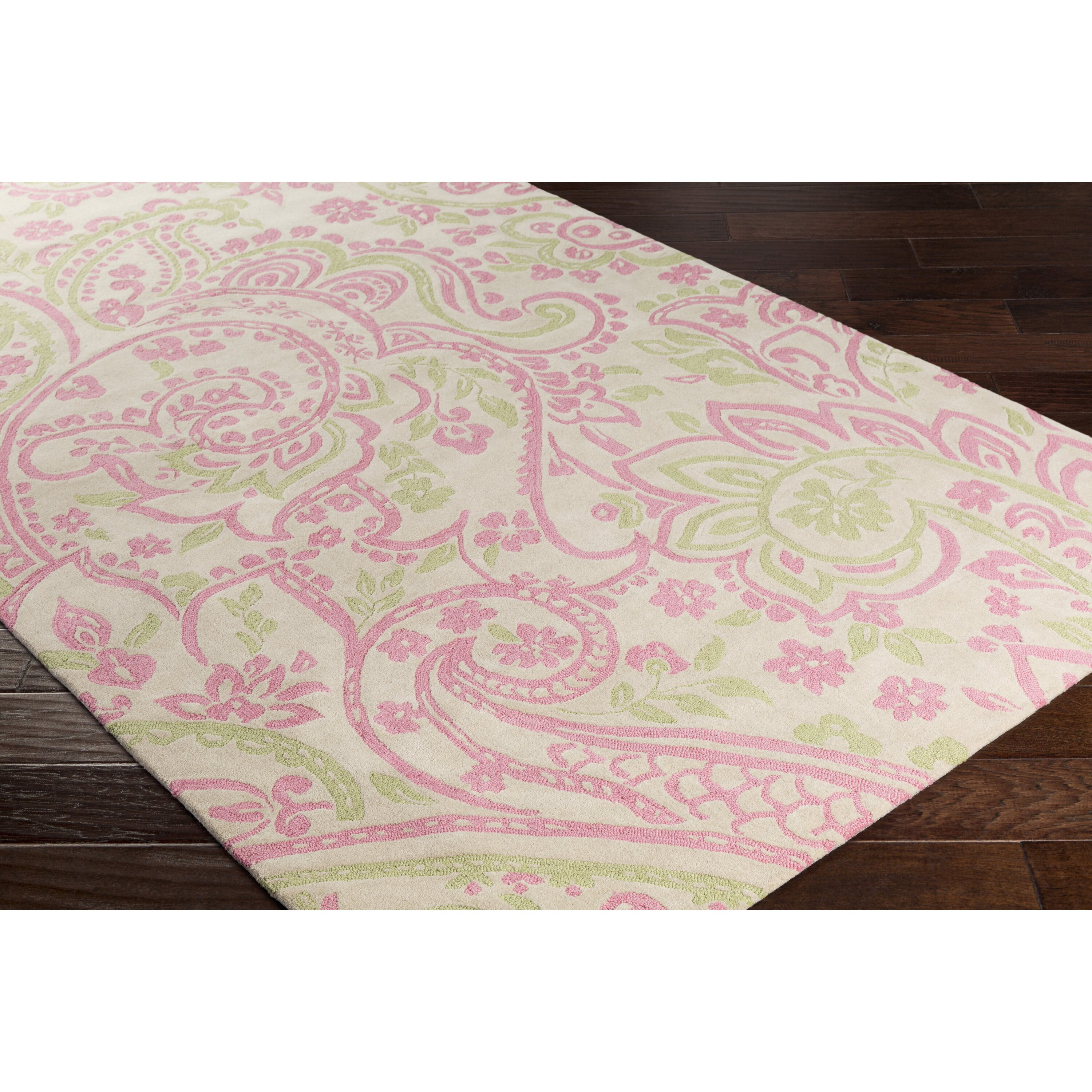 Cleo Hand-Tufted Pink/Green Area Rug
