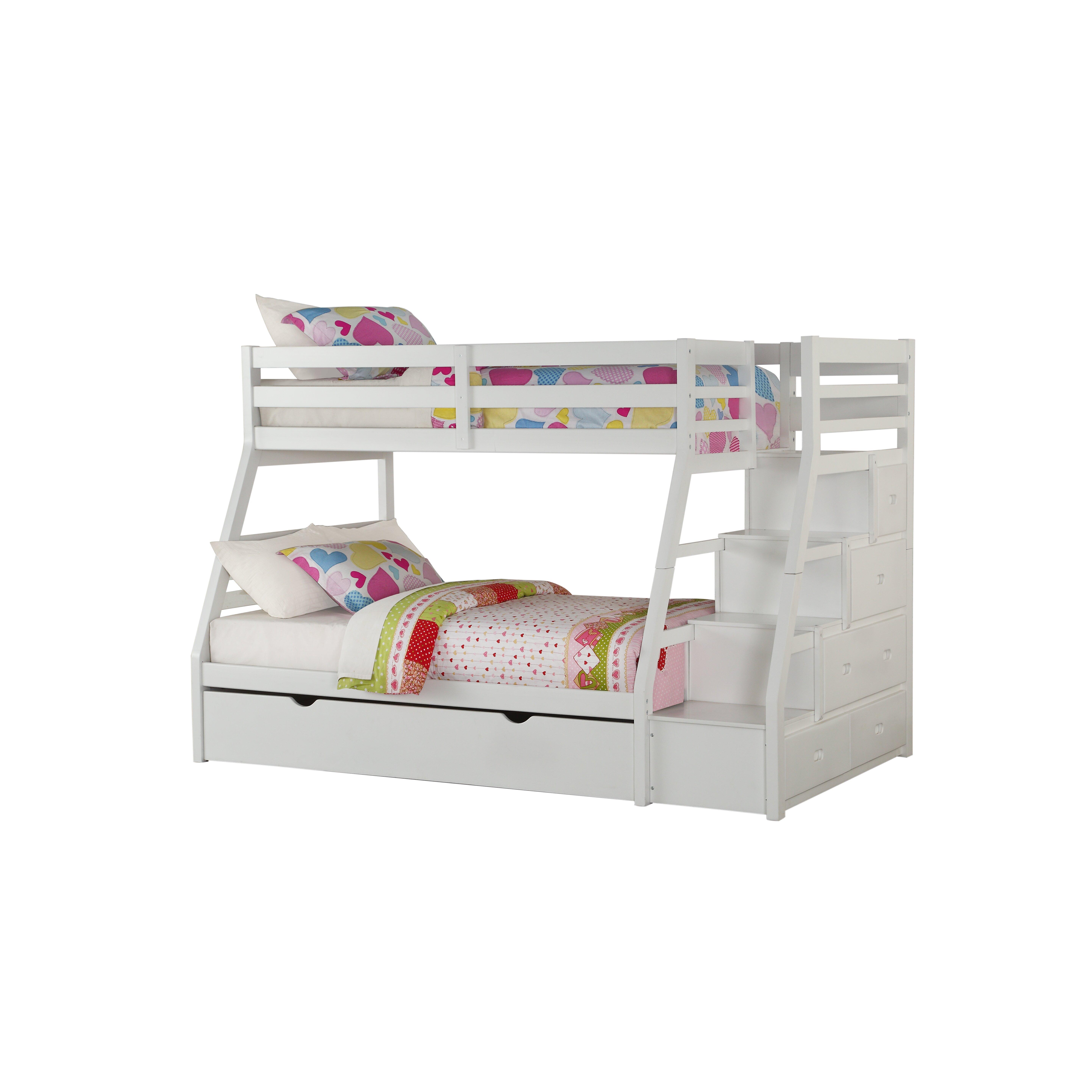 viv rae reece twin over full slat bunk bed with storage ladder and trundle. Black Bedroom Furniture Sets. Home Design Ideas