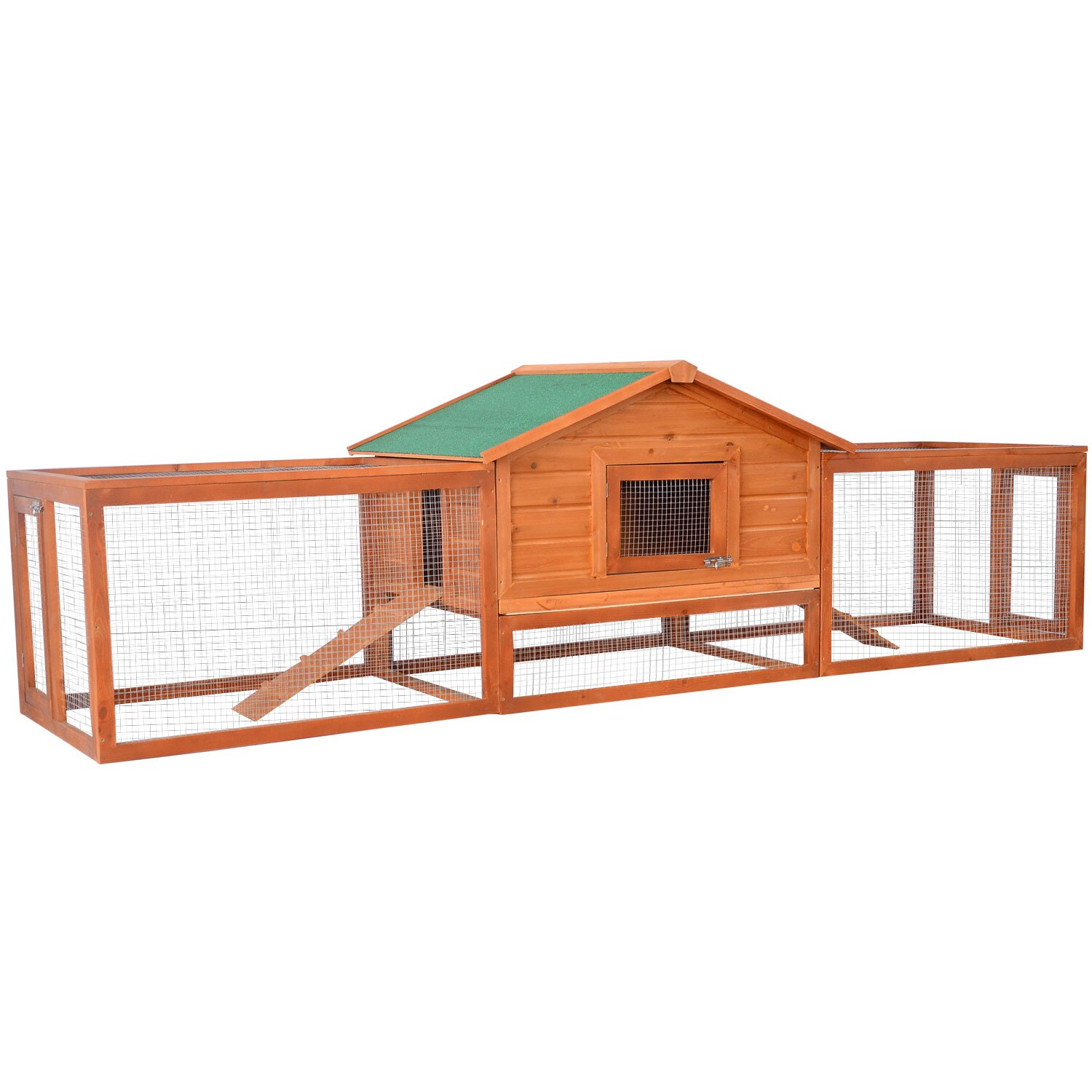 Pawhut pawhut deluxe rabbit hutch chicken coop with double for Outdoor rabbit hutch kits
