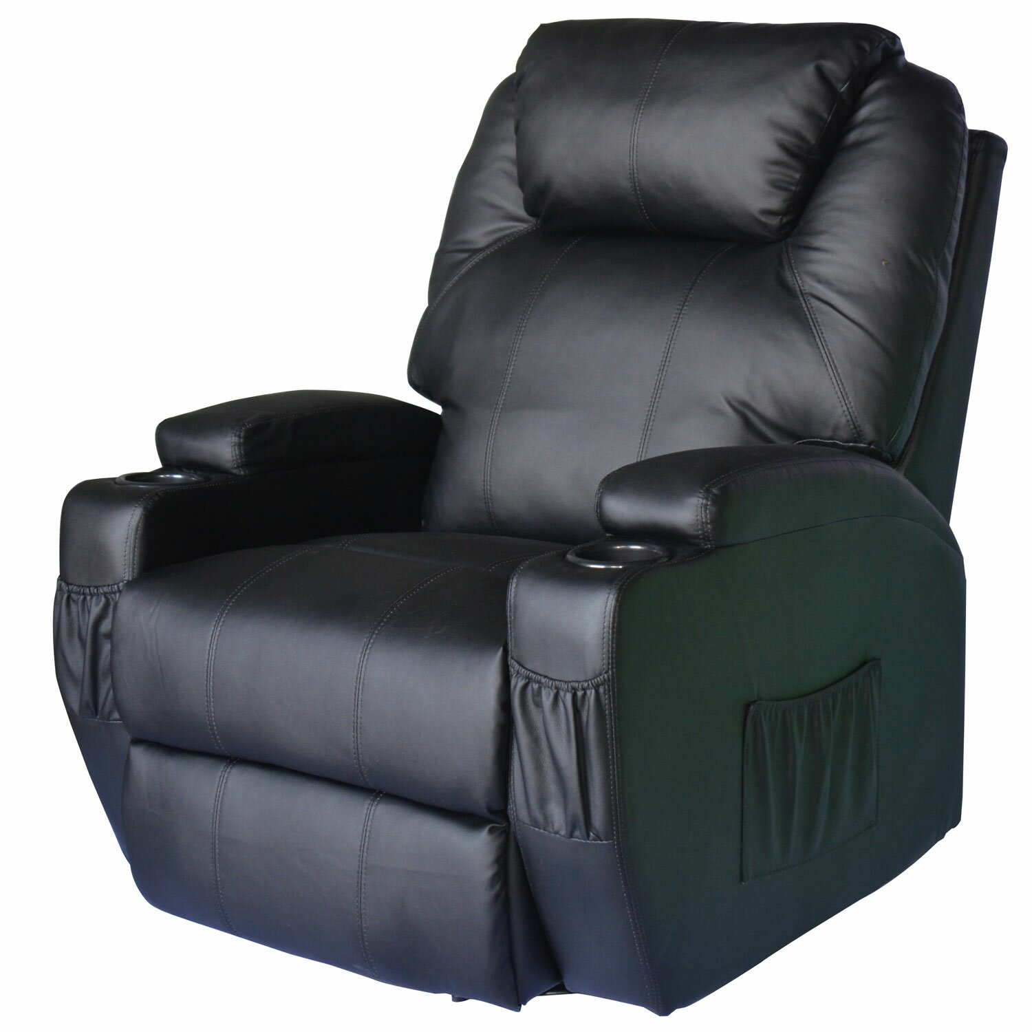 outsunny homcom deluxe heated vibrating vinyl leather massage recliner reviews wayfair. Black Bedroom Furniture Sets. Home Design Ideas