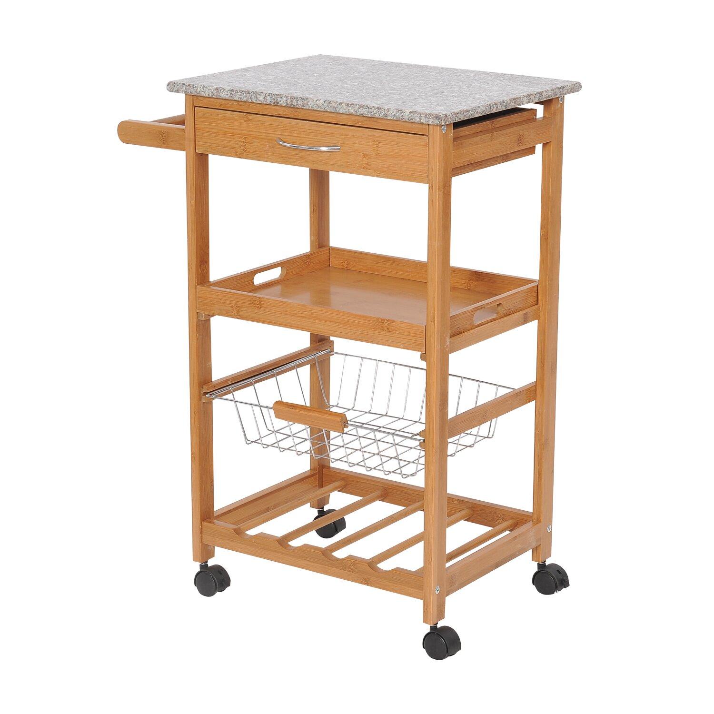 Kitchen Carts With Granite Top Homcom Kitchen Cart With Granite Top Reviews Wayfair