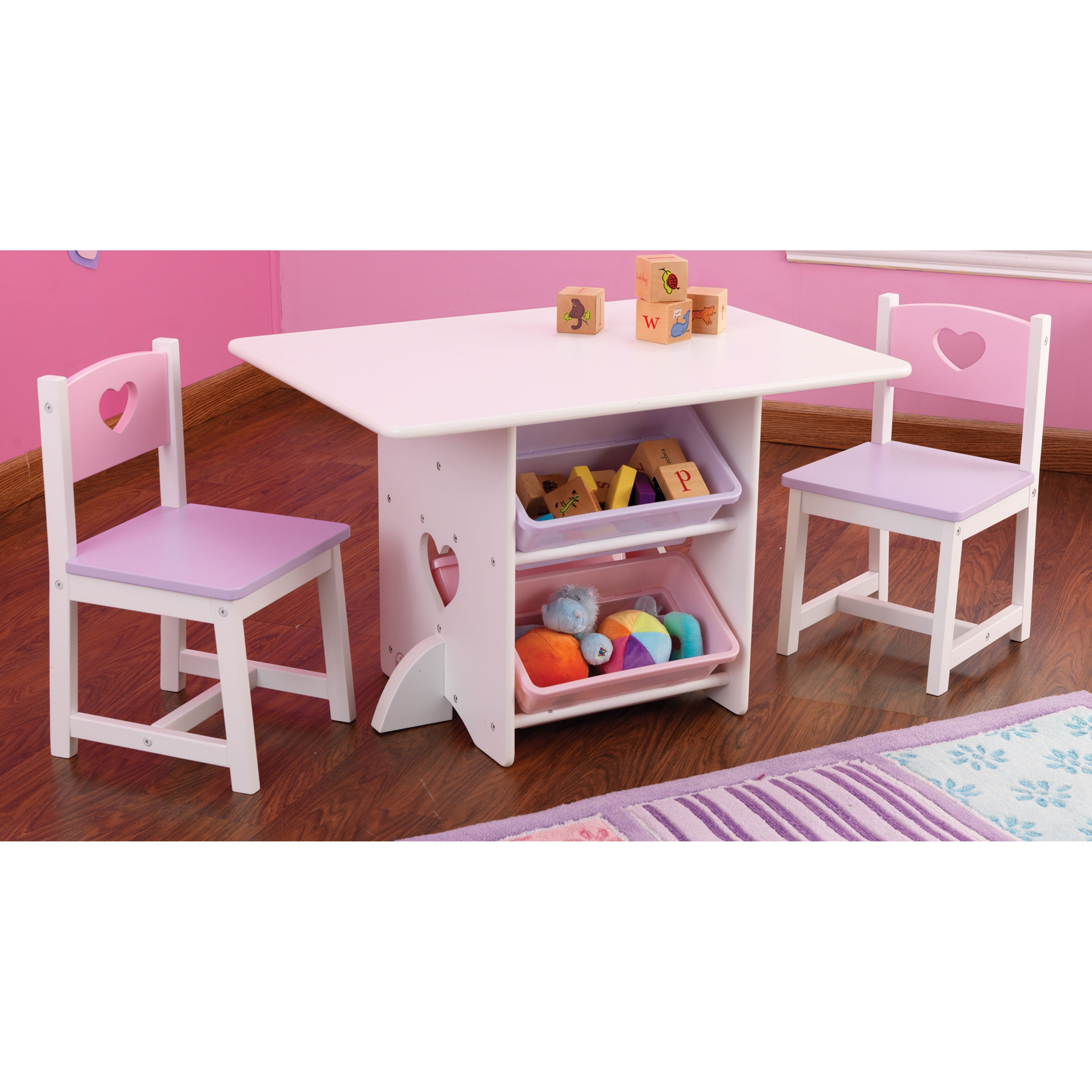 Kidkraft heart kids 7 piece table chair set reviews for Kid craft table and chairs