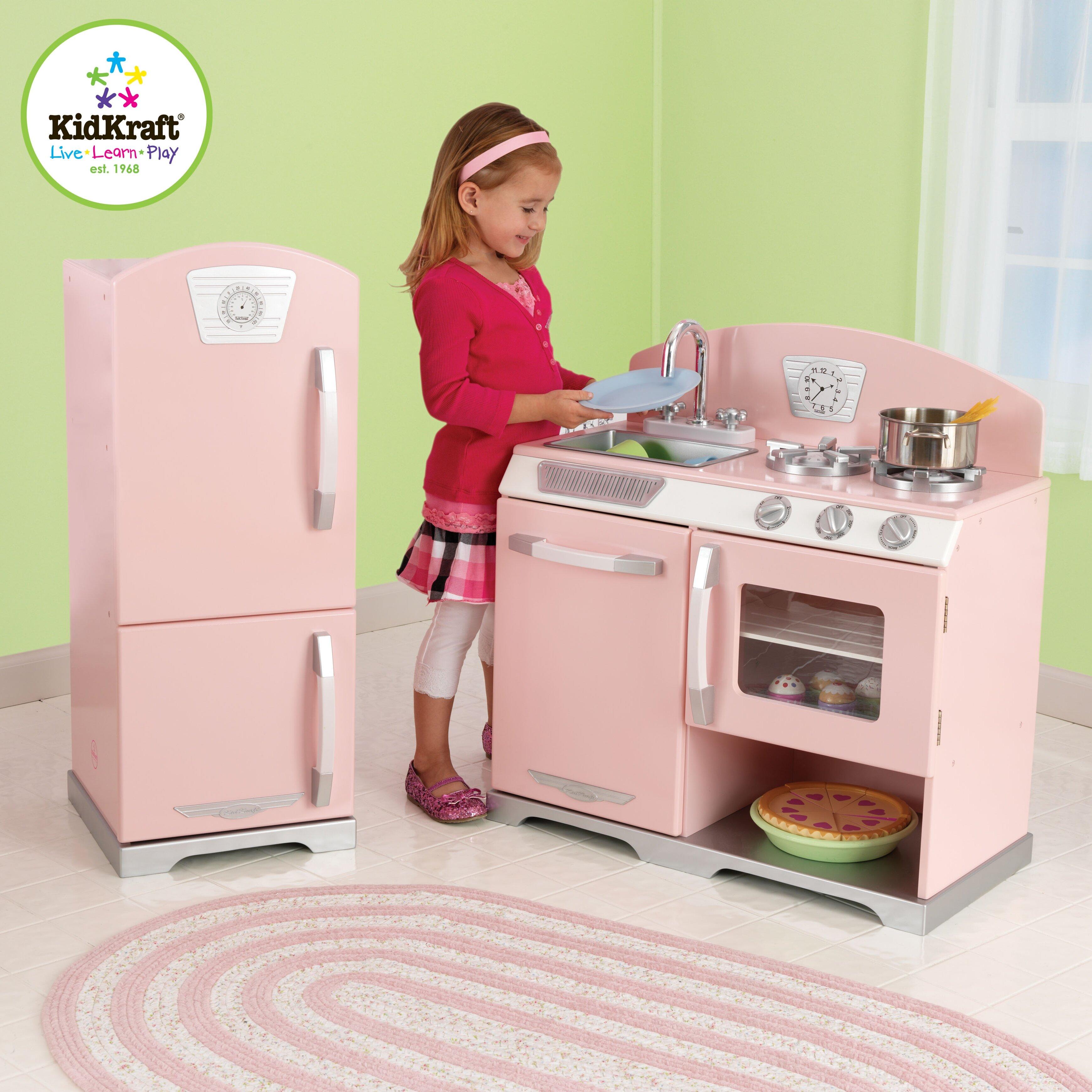 kidkraft 2 piece retro kitchen and refrigerator set. Black Bedroom Furniture Sets. Home Design Ideas