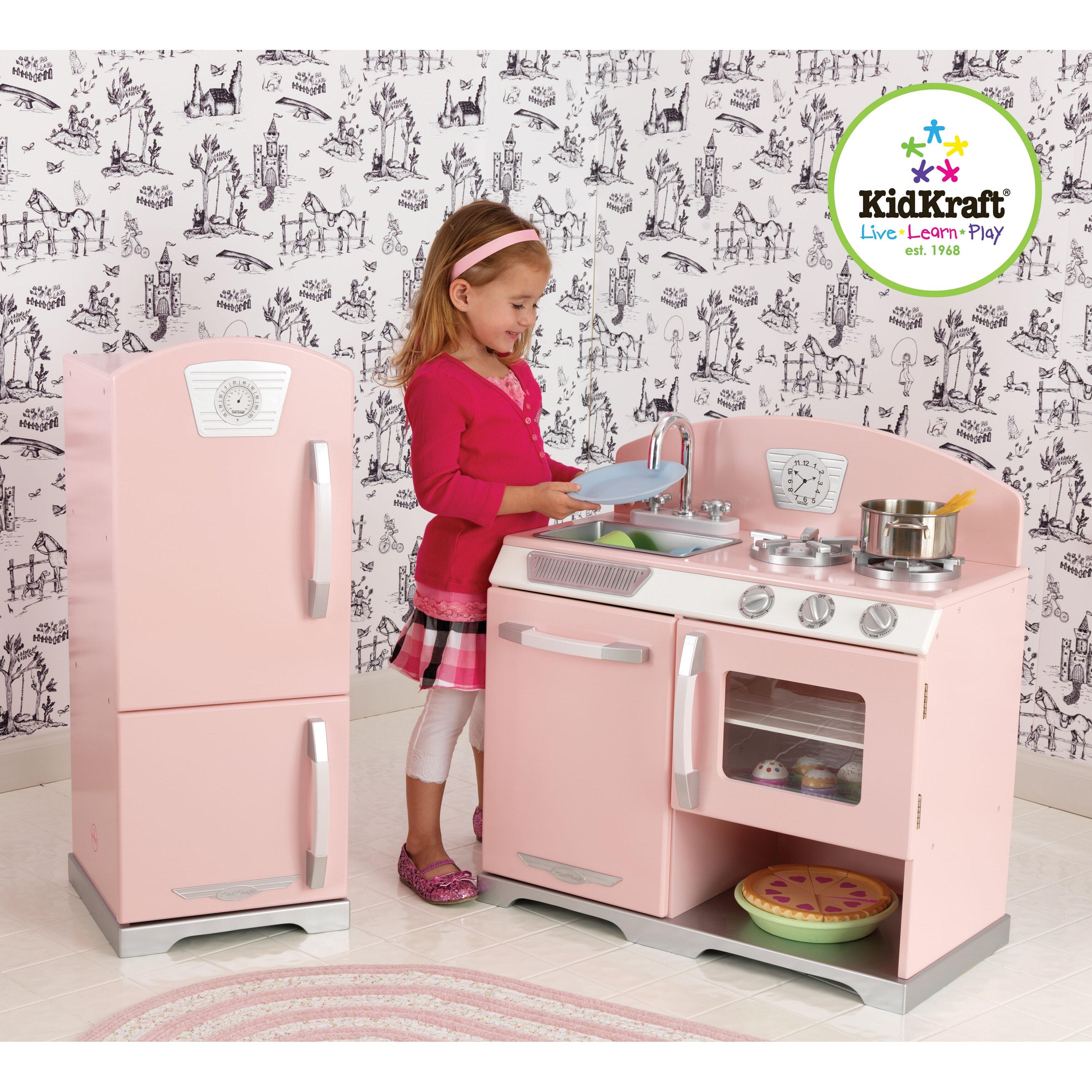 Melissa And Doug Retro Kitchen Kidkraft 2 Piece Retro Kitchen And Refrigerator Set Reviews