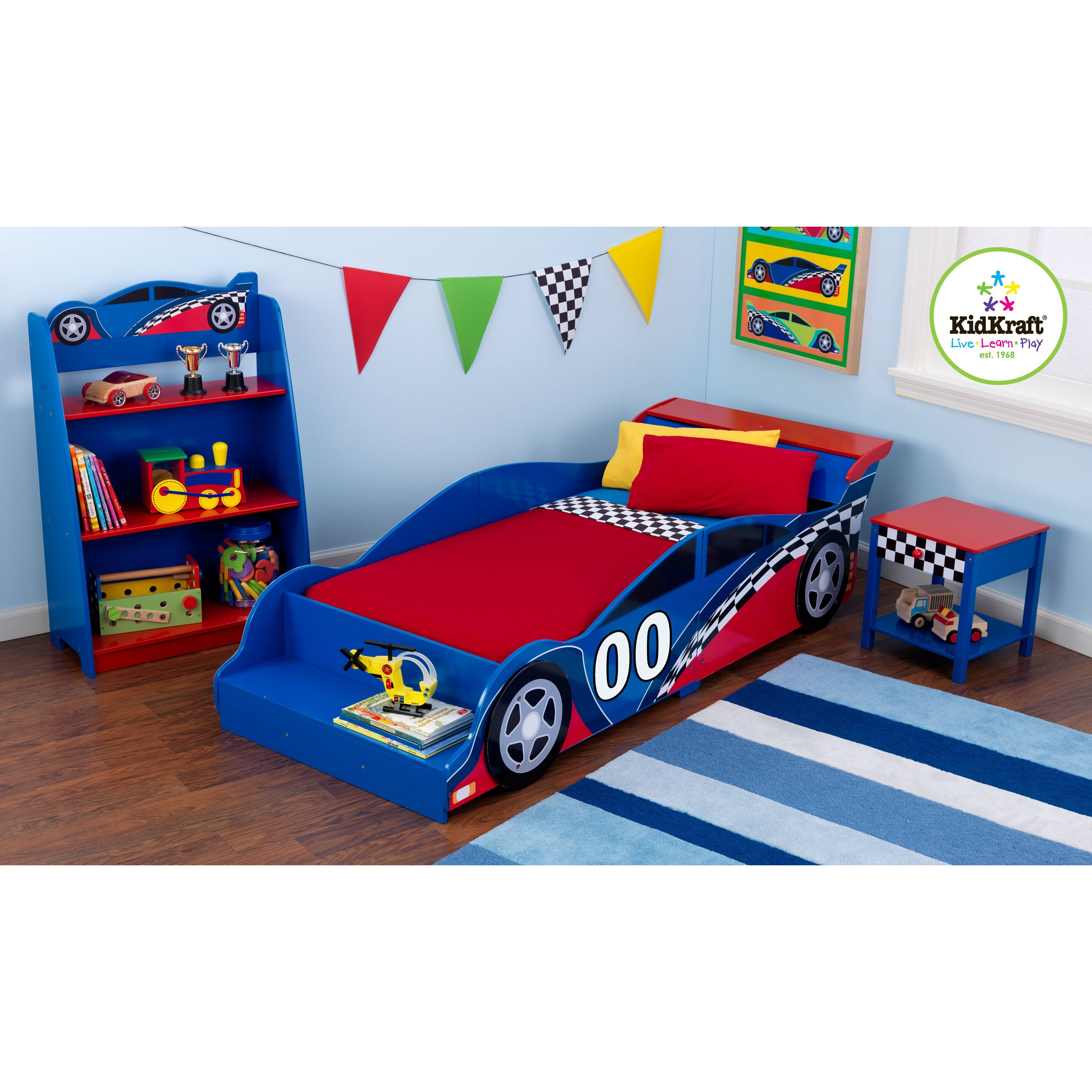 Blue car beds for kids - Quick View Racecar Toddler Car Bed
