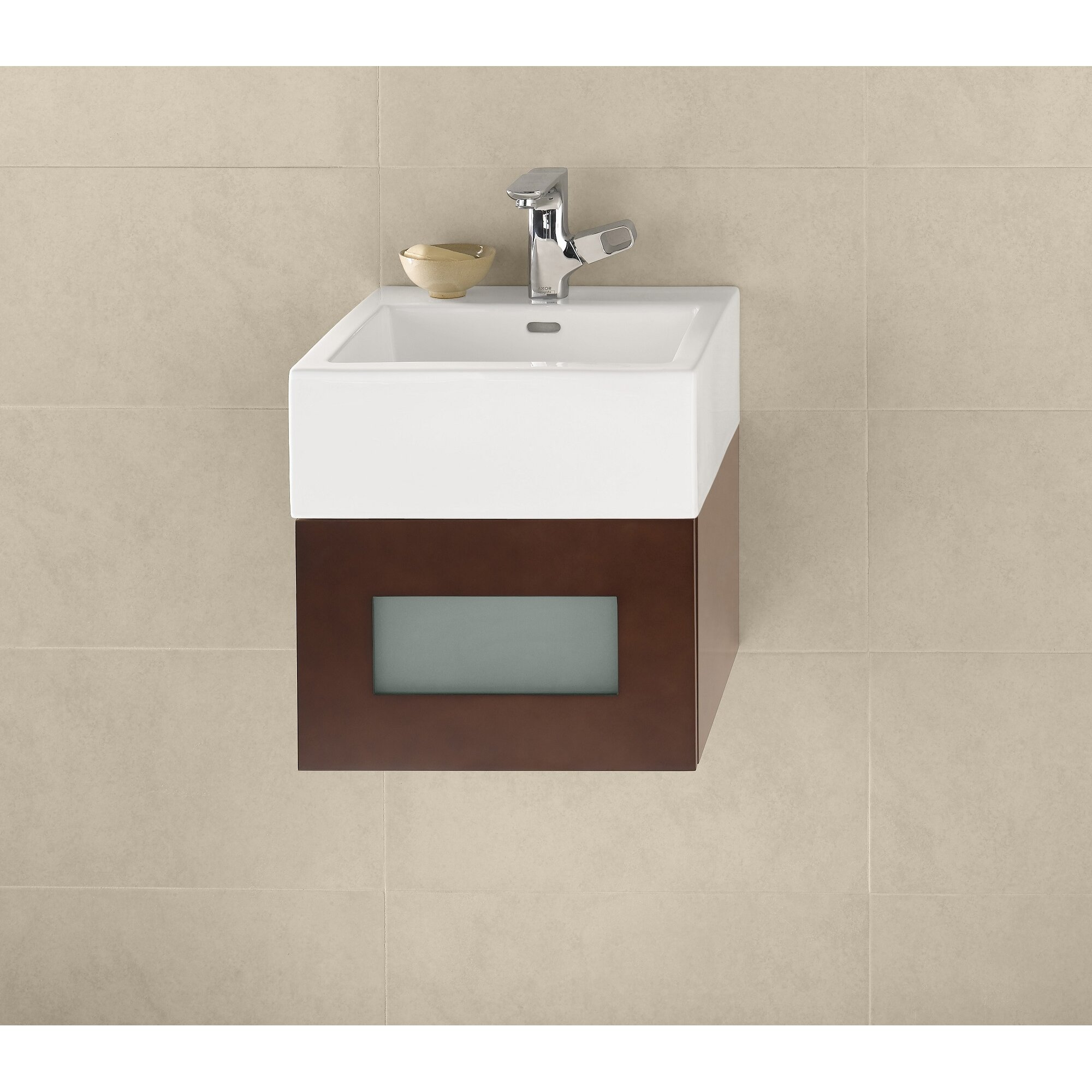 Square bathroom sinks - Ronbow Ceramic Square Vessel Bathroom Sink With Overflow