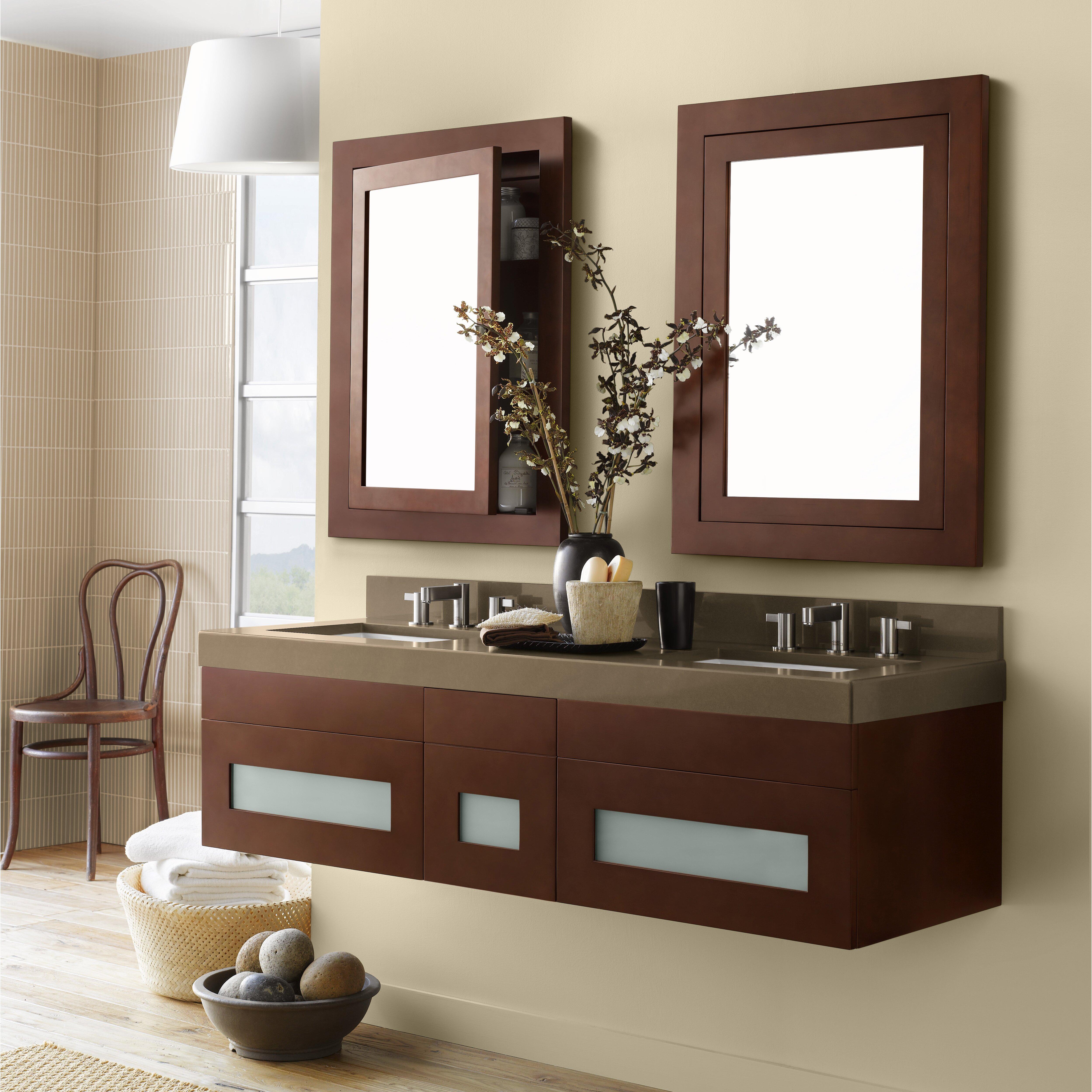 Ronbow Rebecca 58 Double Wall Mount Bathroom Vanity Set Reviews – 58 Bathroom Vanity
