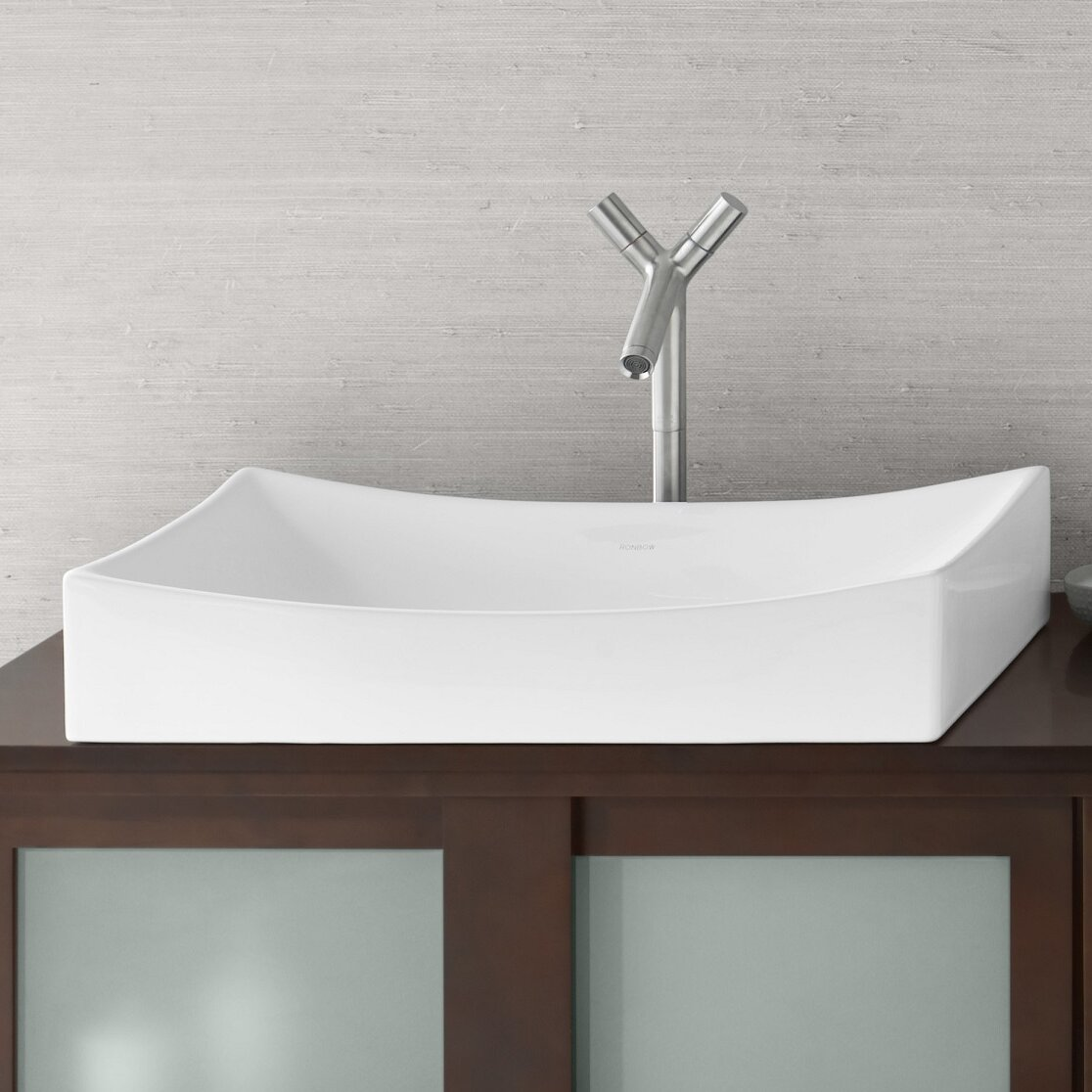 Rectangular Bathroom Sinks Ronbow Status Rectangular Vessel Bathroom Sink Reviews Wayfair