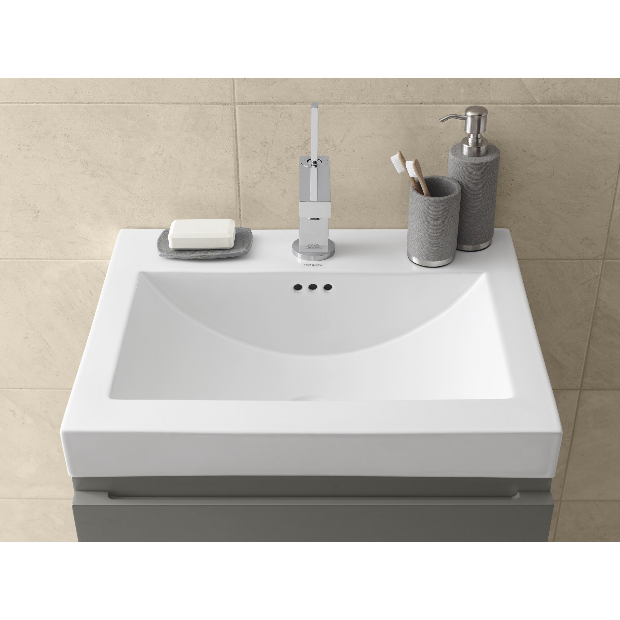 Ronbow Ronbow Rectangle Ceramic Semi Recessed Vessel Bathroom Sink .