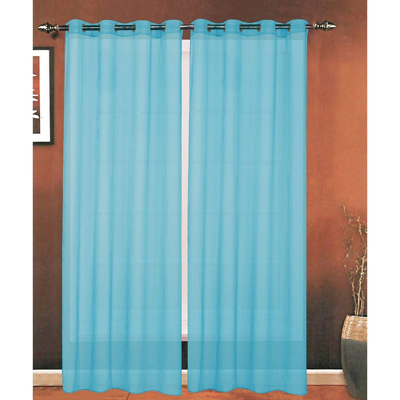 Ebern Designs Mirabella Solid Sheer Grommet Curtain Panels