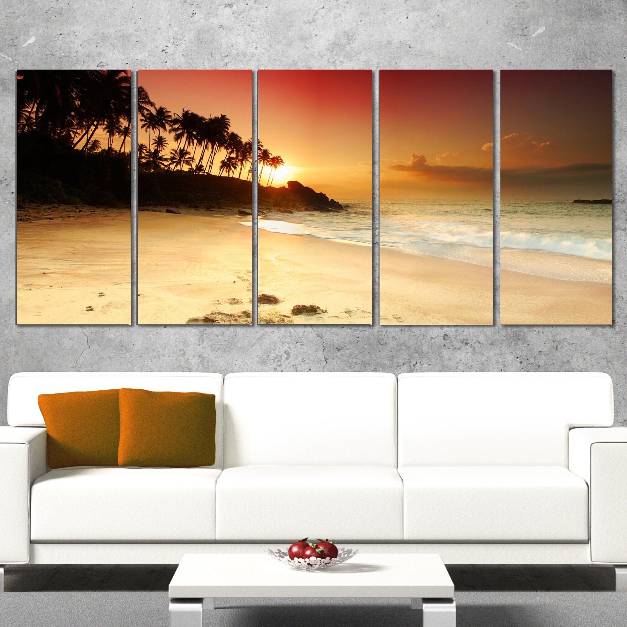 Wall Art Sets For Living Room Designart Amazing Sunset And Beach In Sri Lanka 5 Piece Wall Art