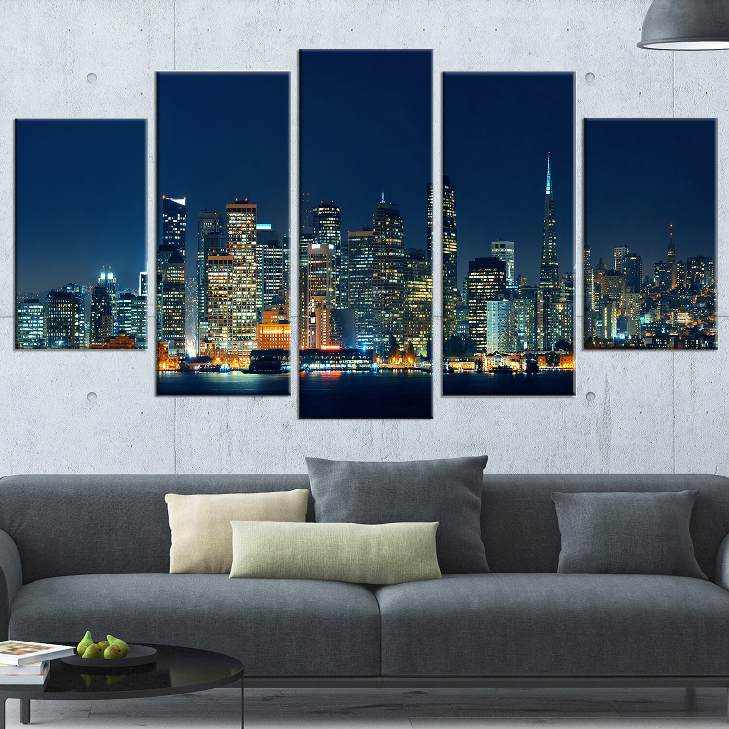 Design Art u0027San Francisco Skyline at Nightu0027 5 Piece Wall Art on Wrapped  Canvas