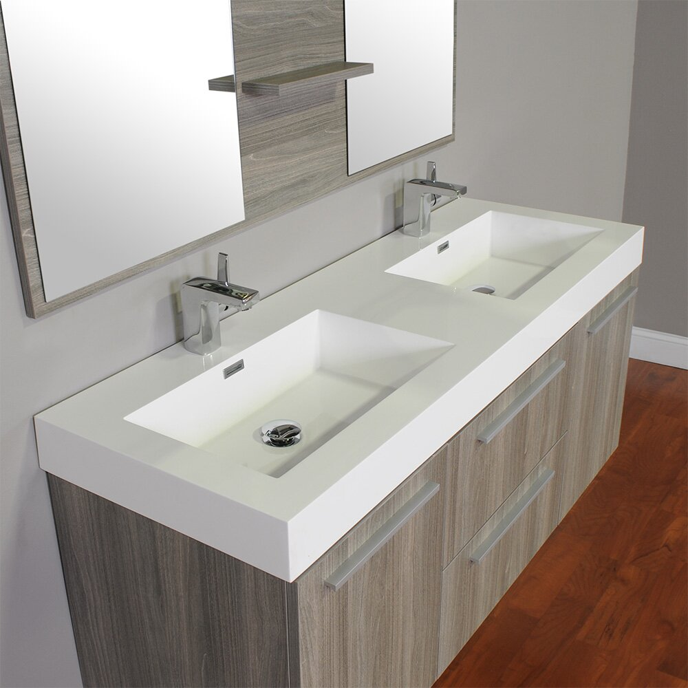 54 Bathroom Vanity Cabinet Wade Logan Waldwick 54 Double Wall Mount Modern Bathroom Vanity