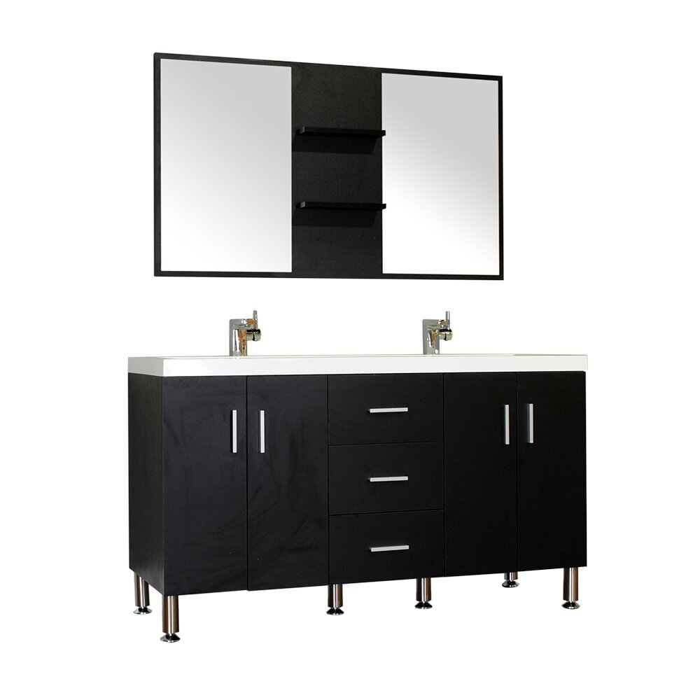 Modern bathroom cabinet - Wade Logan Reg Waldwick 56 Quot Double Modern Bathroom Vanity