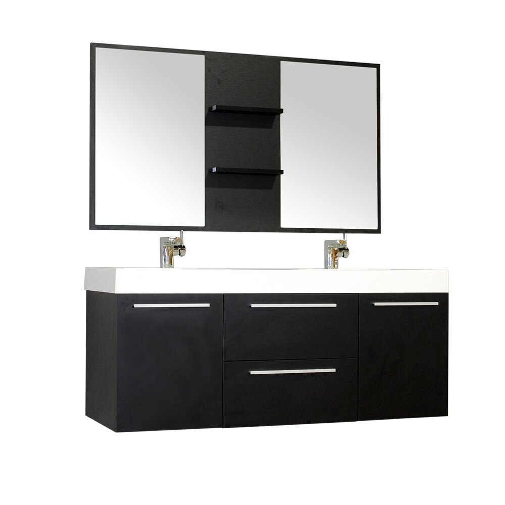 Modern bathroom cabinet - Wade Logan Reg Waldwick 54 Quot Double Wall Mount Modern Bathroom Vanity