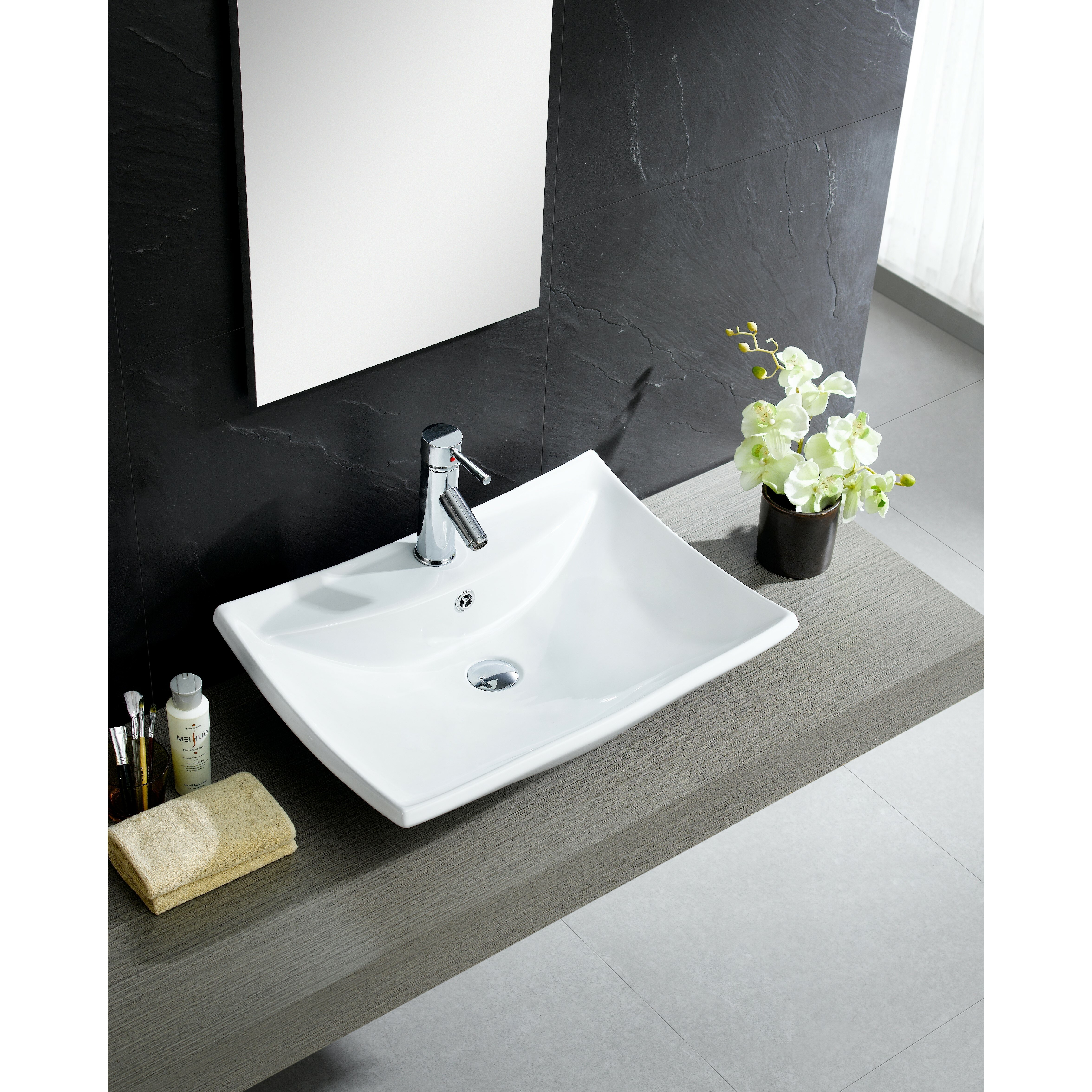 Bathroom square vessel sinks - Fine Fixtures Modern Vitreous Square Vessel Sink Vessel Bathroom Sink With Overflow