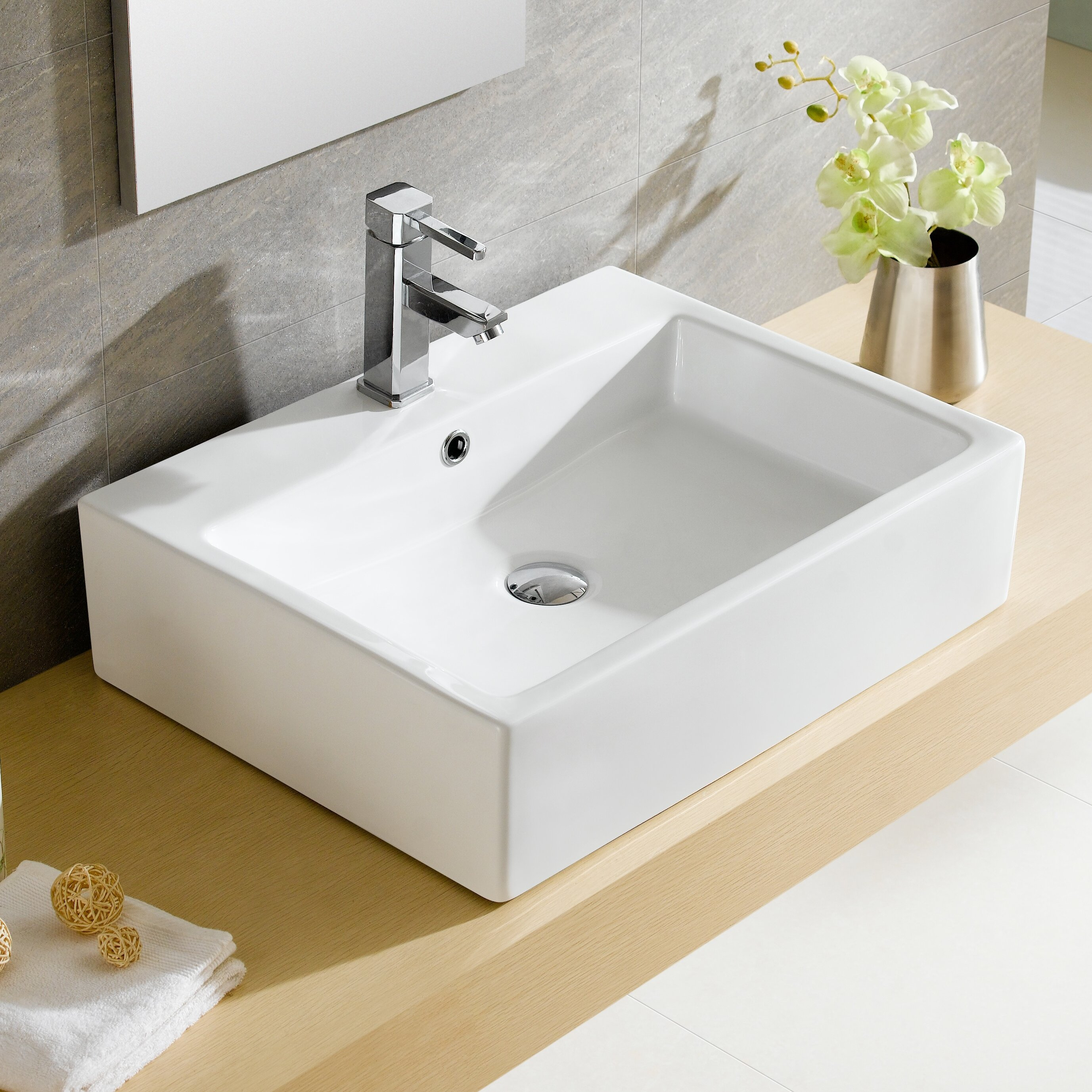 Fine Fixtures Modern Vitreous Rectangular Vessel Bathroom Sink with Overflow