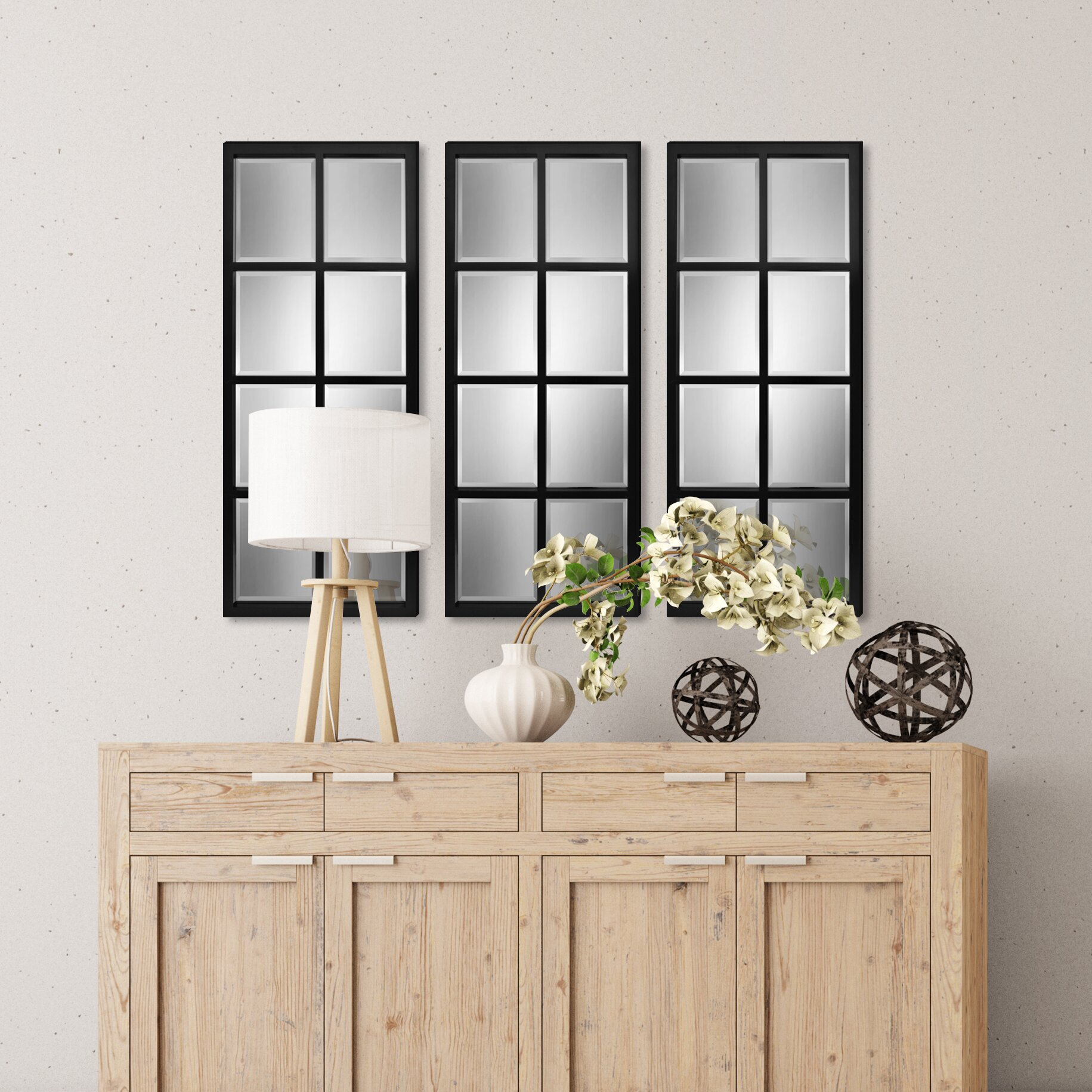 kate and laurel stryker windowpane framed wall mirror