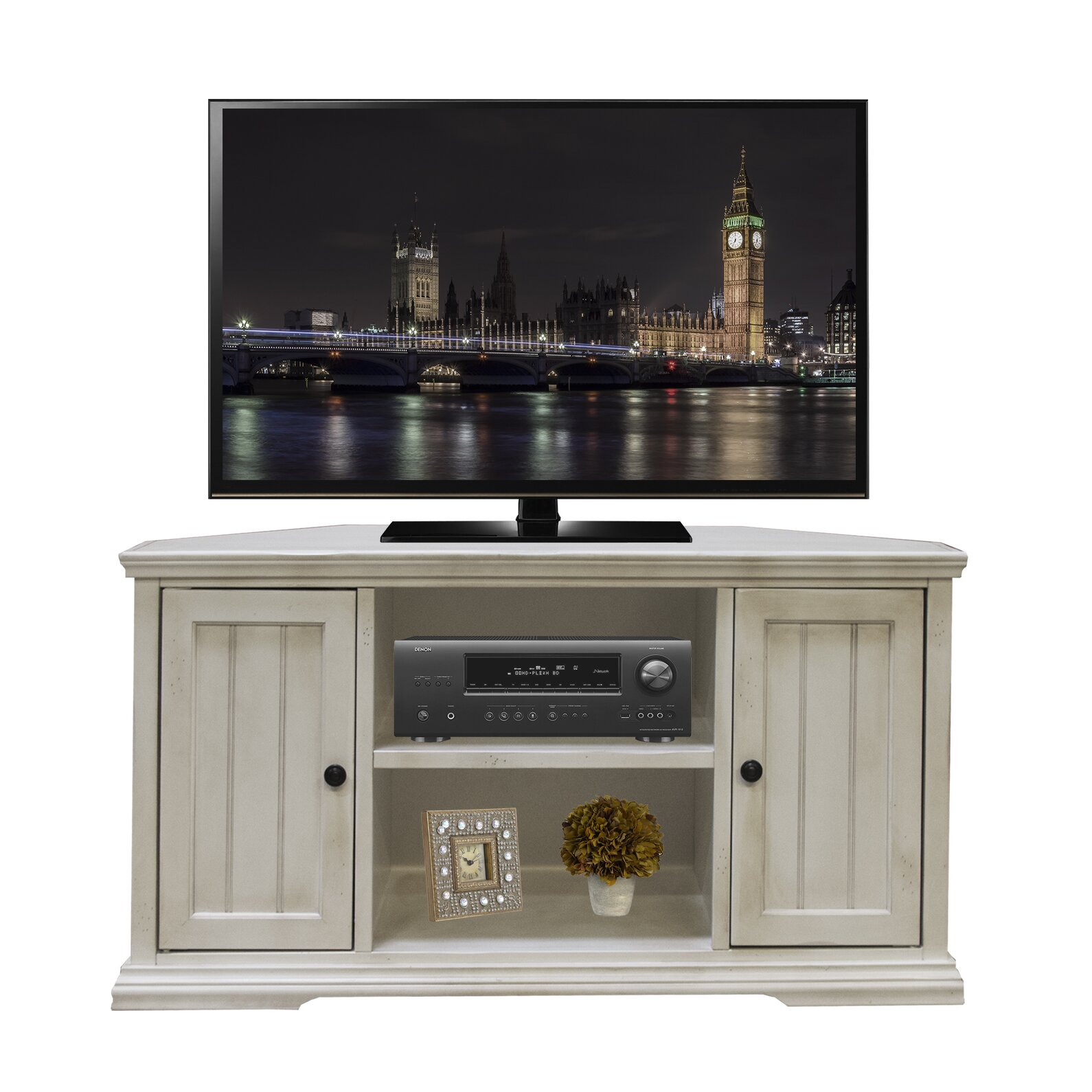 breakwater bay rehoboth corner tv stand reviews wayfair. Black Bedroom Furniture Sets. Home Design Ideas