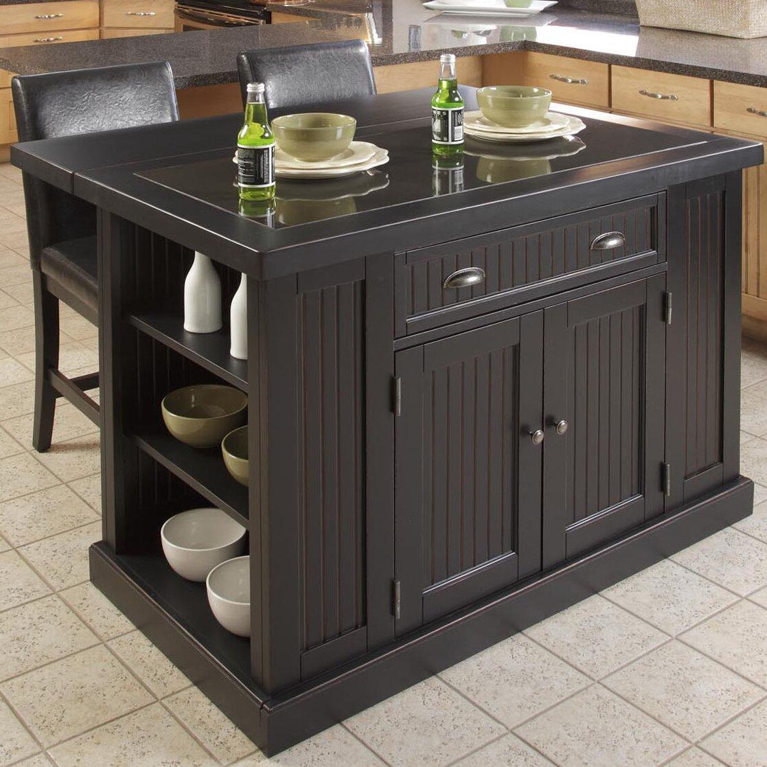 breakwater bay gouldsboro 3 piece kitchen island set with granite