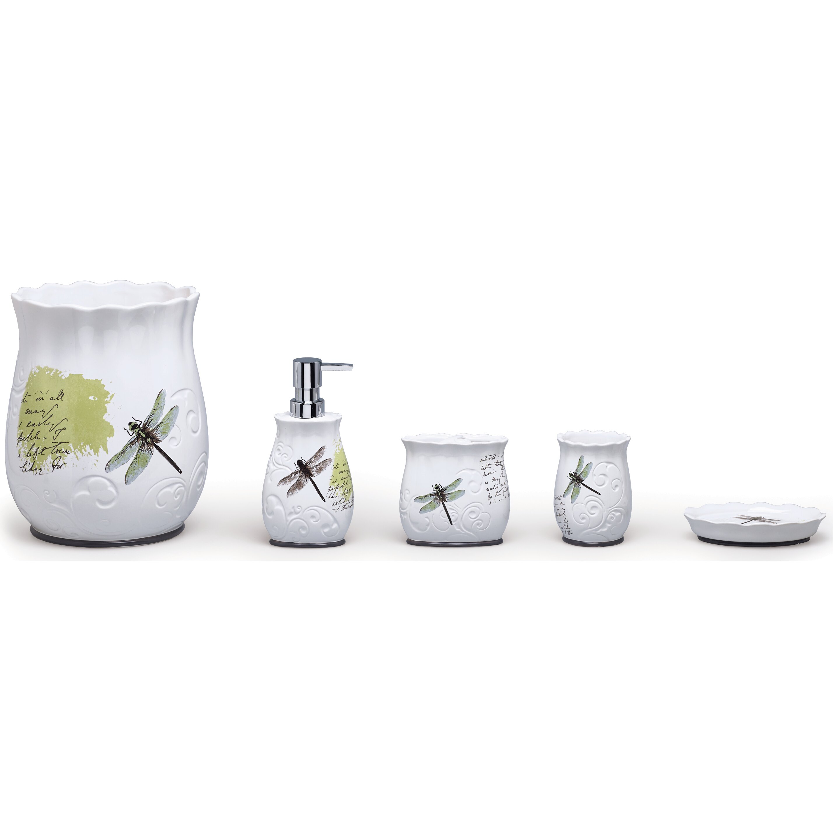 moda at home dragonfly ceramic 4-piece bathroom accessory set
