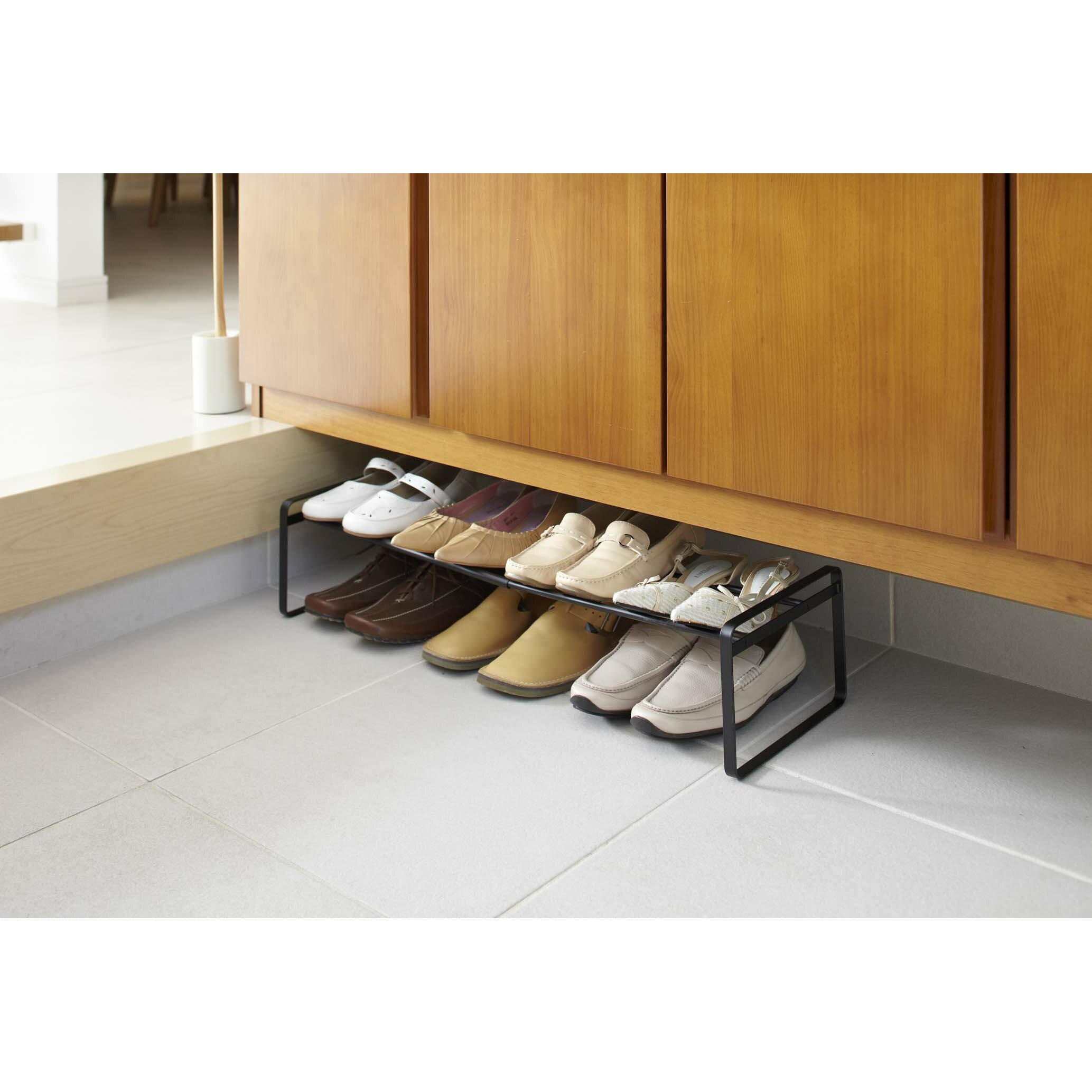 Alluring Design Walk In Closet Ideas With Shoes Storage Racks And Double Hanging Bars