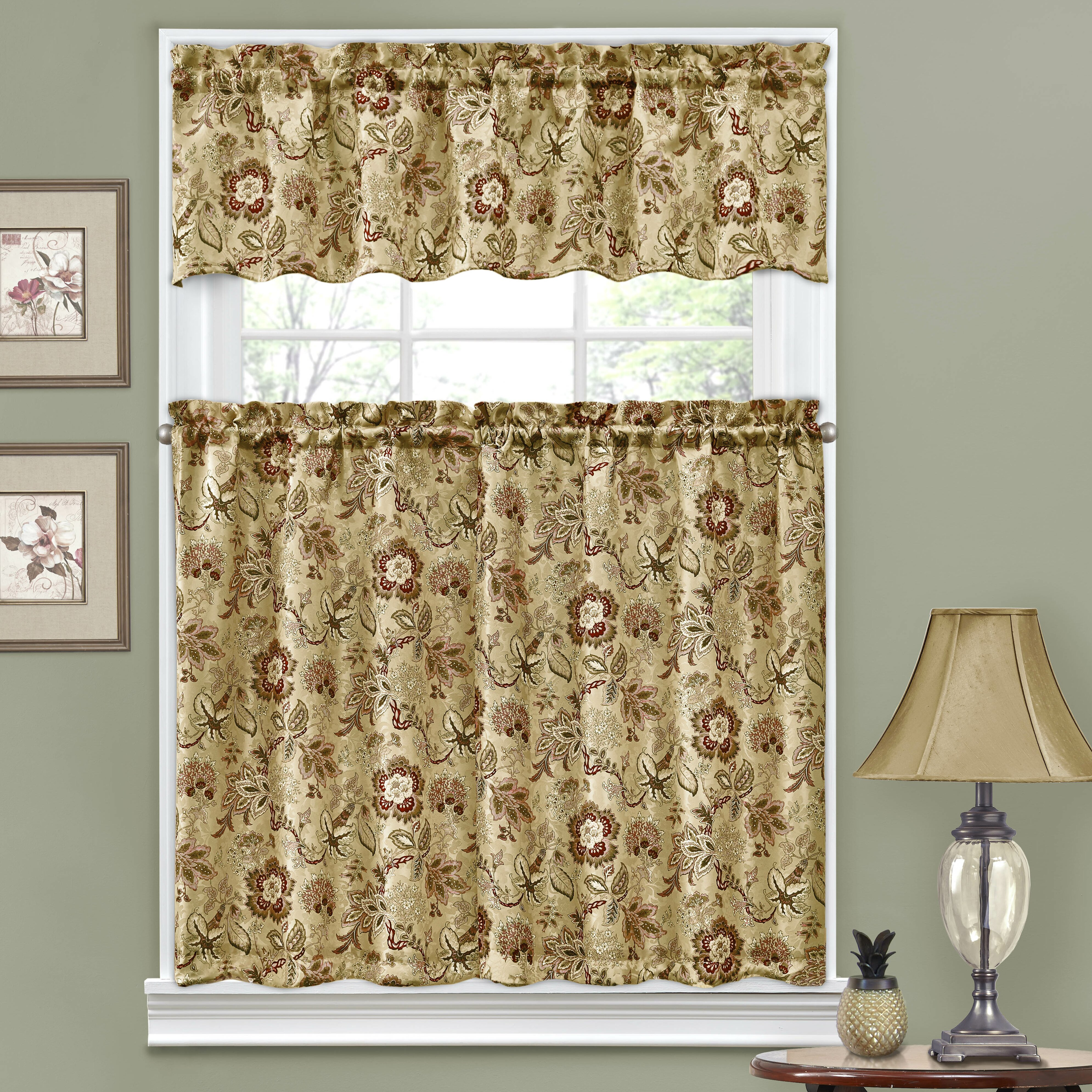 "Traditions By Waverly Navarra Floral 52"" Valance And Tier Set & Reviews"