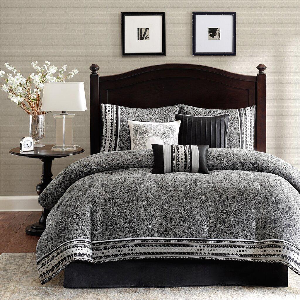 Black and white damask bedding queen - Dorrington 7 Piece Comforter Set