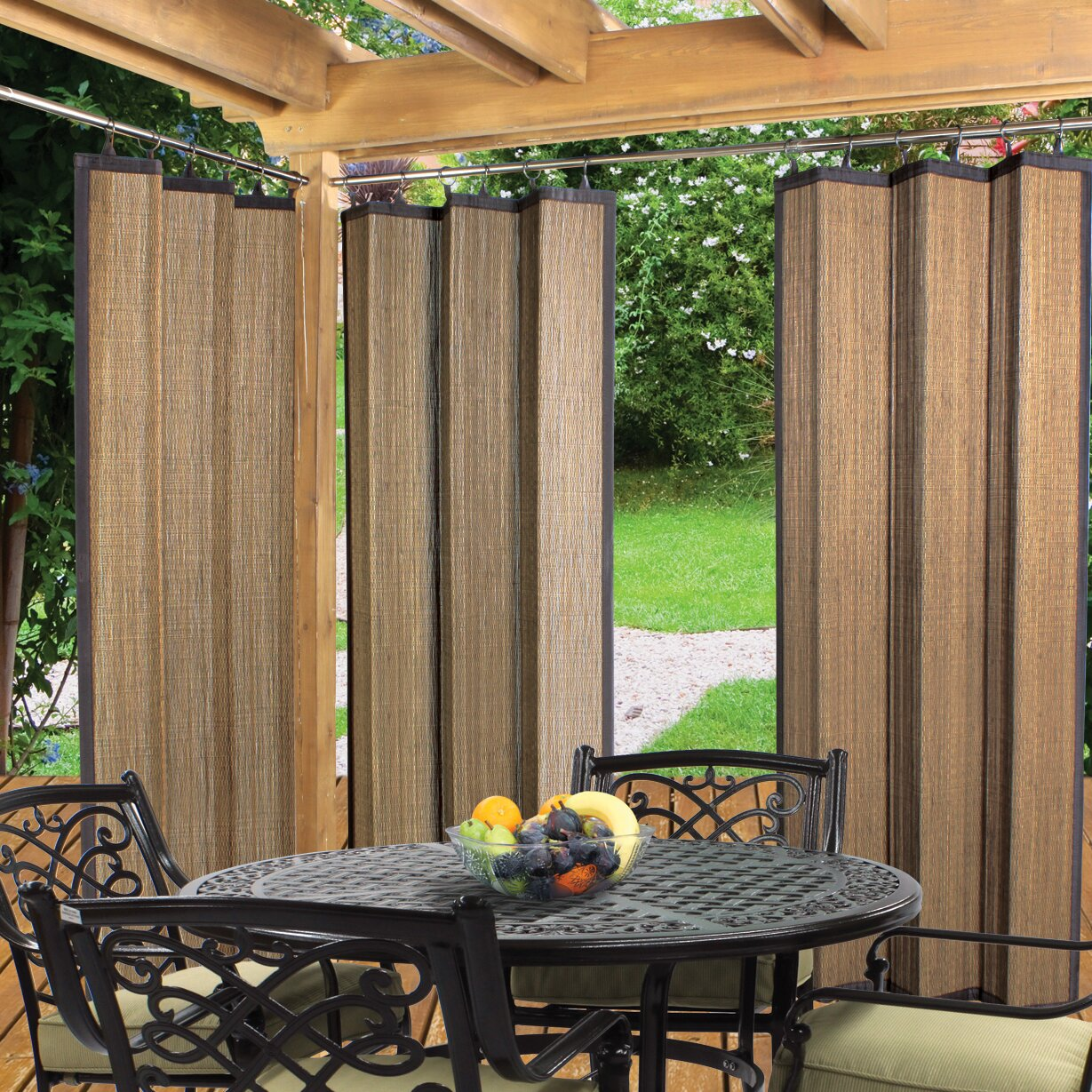 Striped outdoor curtains - Bay Isle Home Nassau Indoor Outdoor Ring Top Single Curtain Panel
