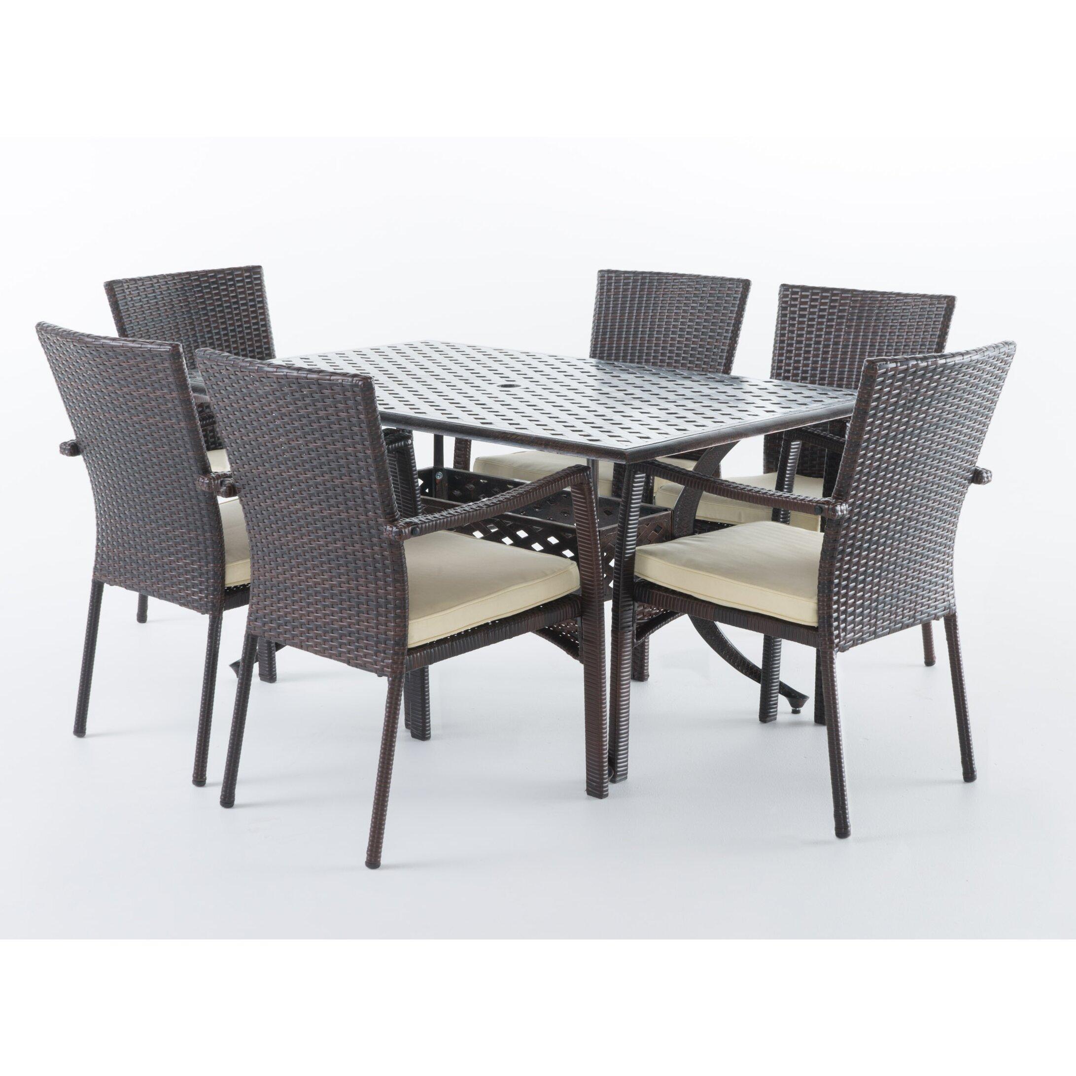 Bay Isle Home Edgewater Outdoor 7 Piece Dining Set with Cushions   Wayfair