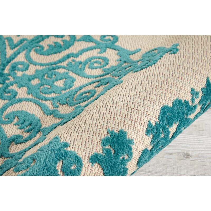Bay Isle Home Seaside Blue Cream Indoor Outdoor Area Rug