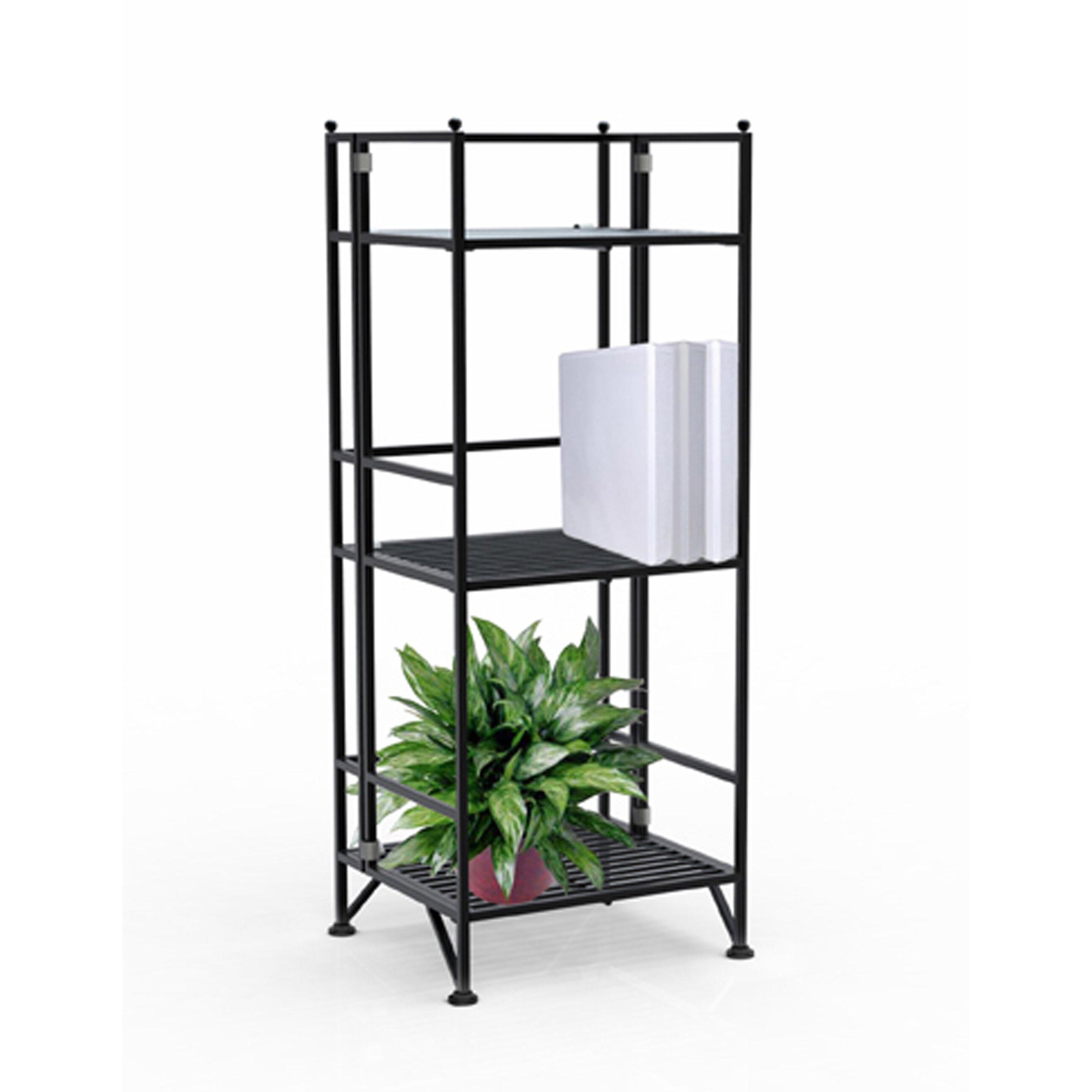 convenience concepts designs 2 go 3 tier folding metal shelf 32 etagere bookcase reviews. Black Bedroom Furniture Sets. Home Design Ideas