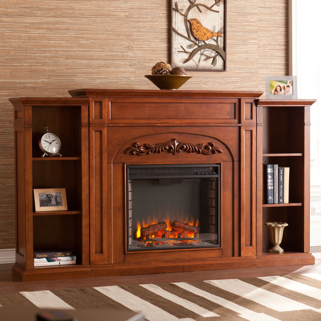 electric fireplace with bookcases