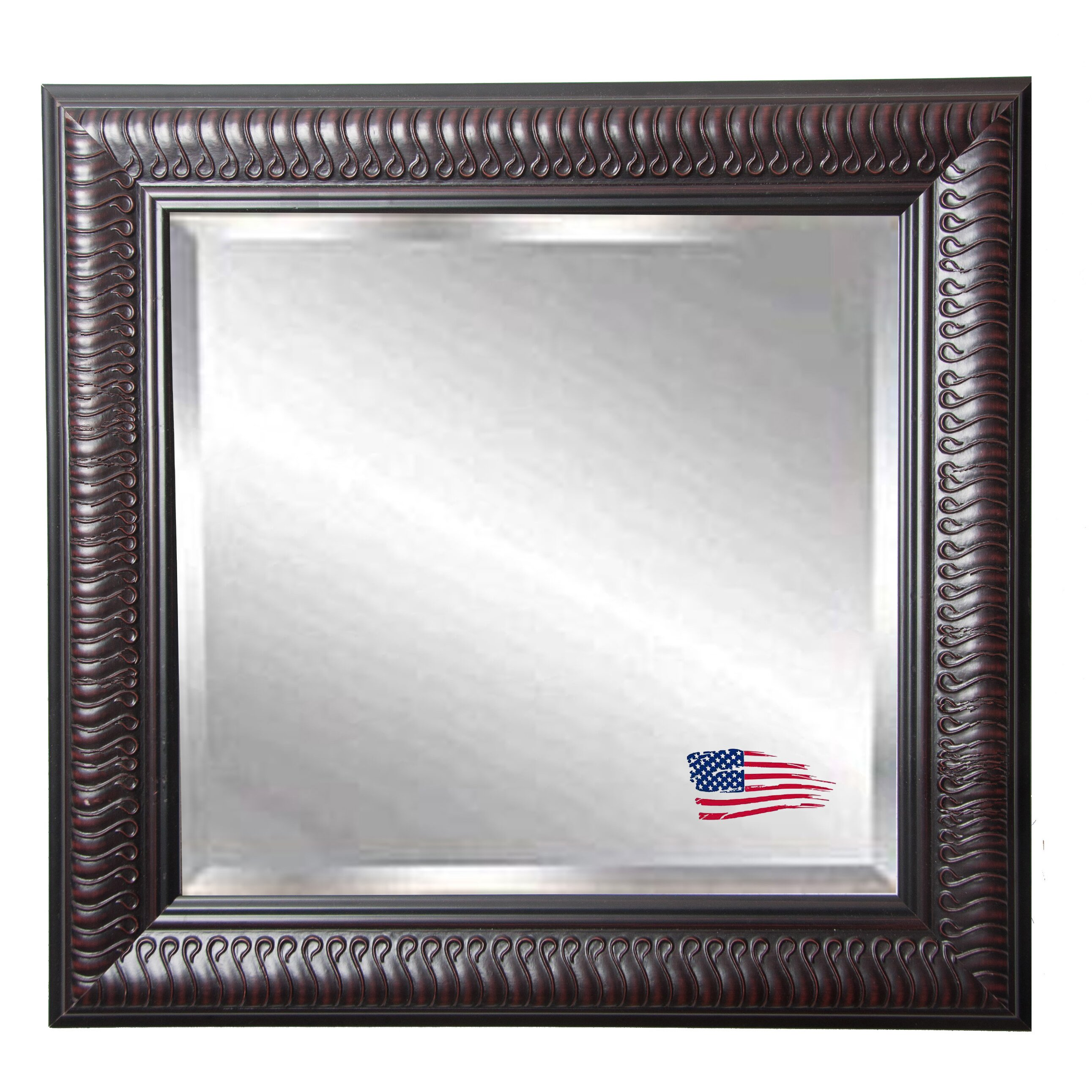 astoria grand beveled square wood framed wall mirror