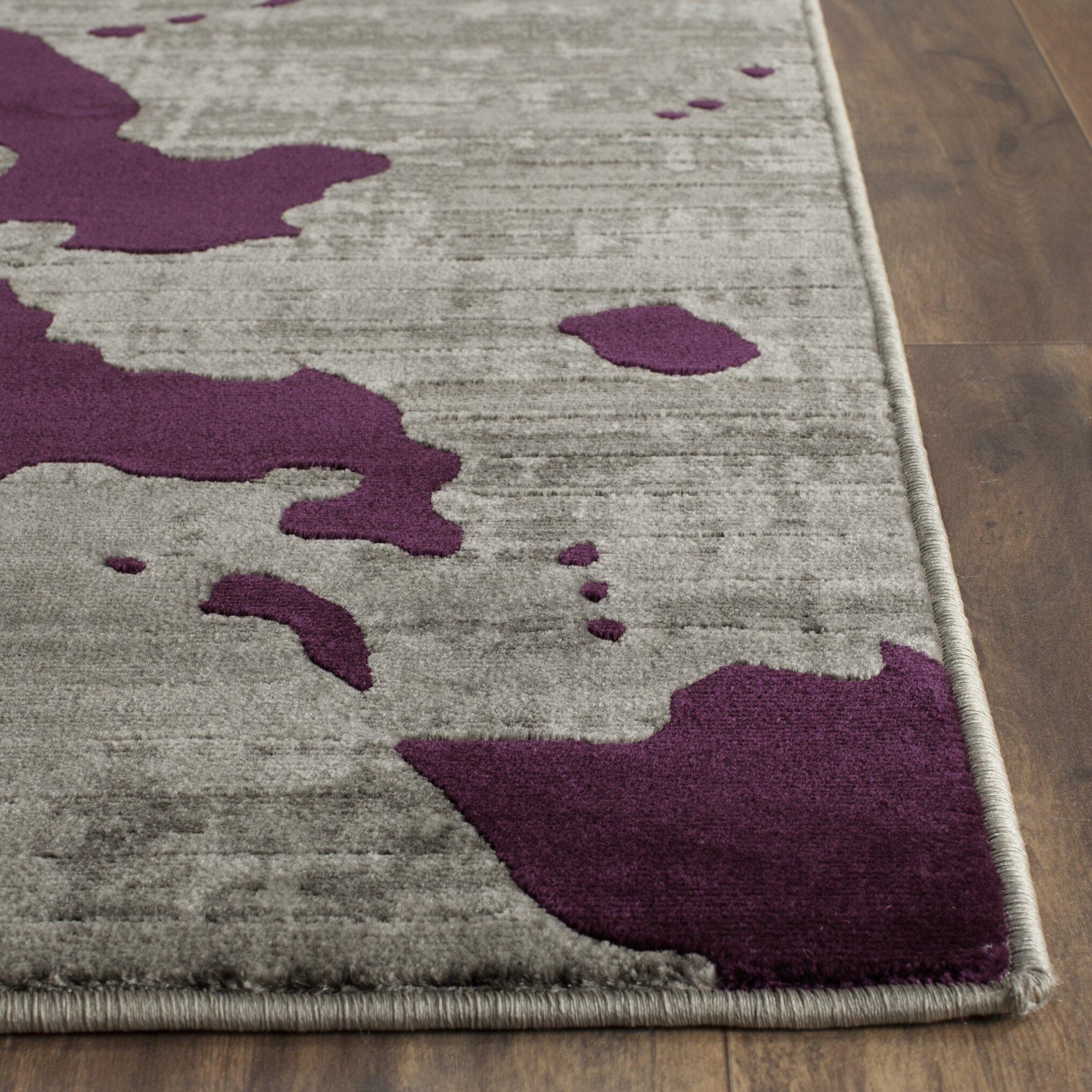 World Menagerie Varnai Light Gray Purple Area Rug