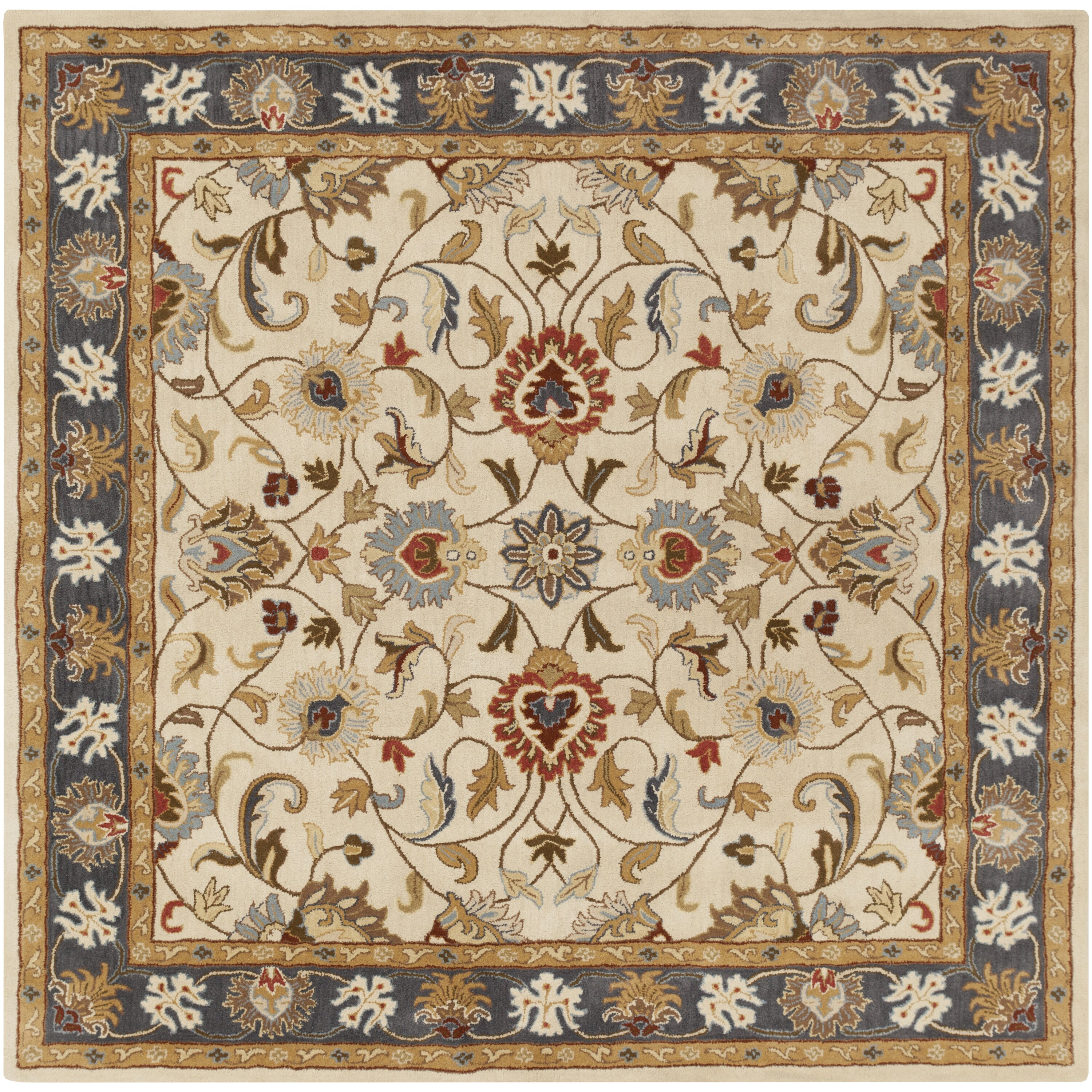 World Menagerie Topaz Hand-Tufted Tan/Blue Area Rug