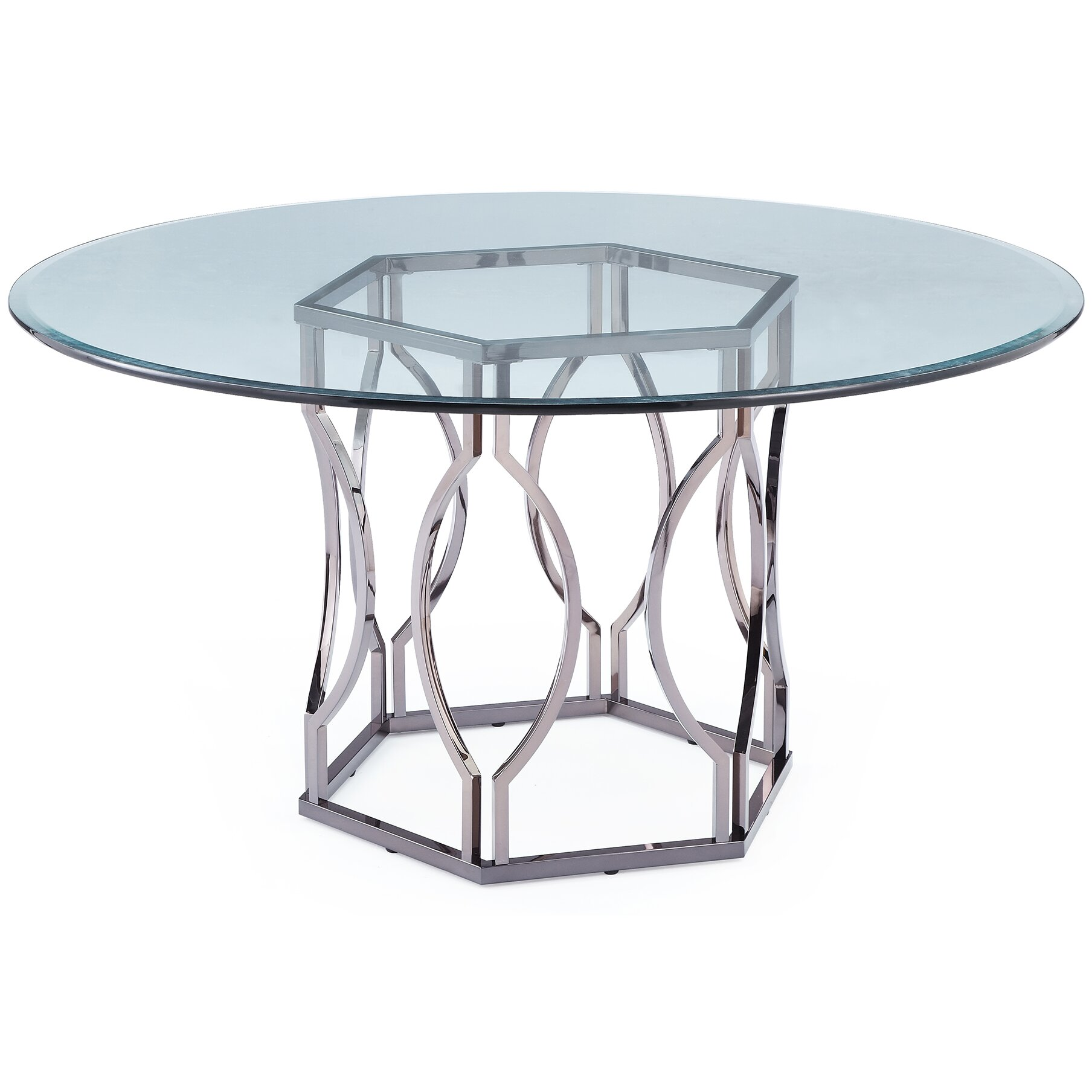 Glass Dining Table Round Mercer41 Viggo Round Glass Dining Table Reviews Wayfair