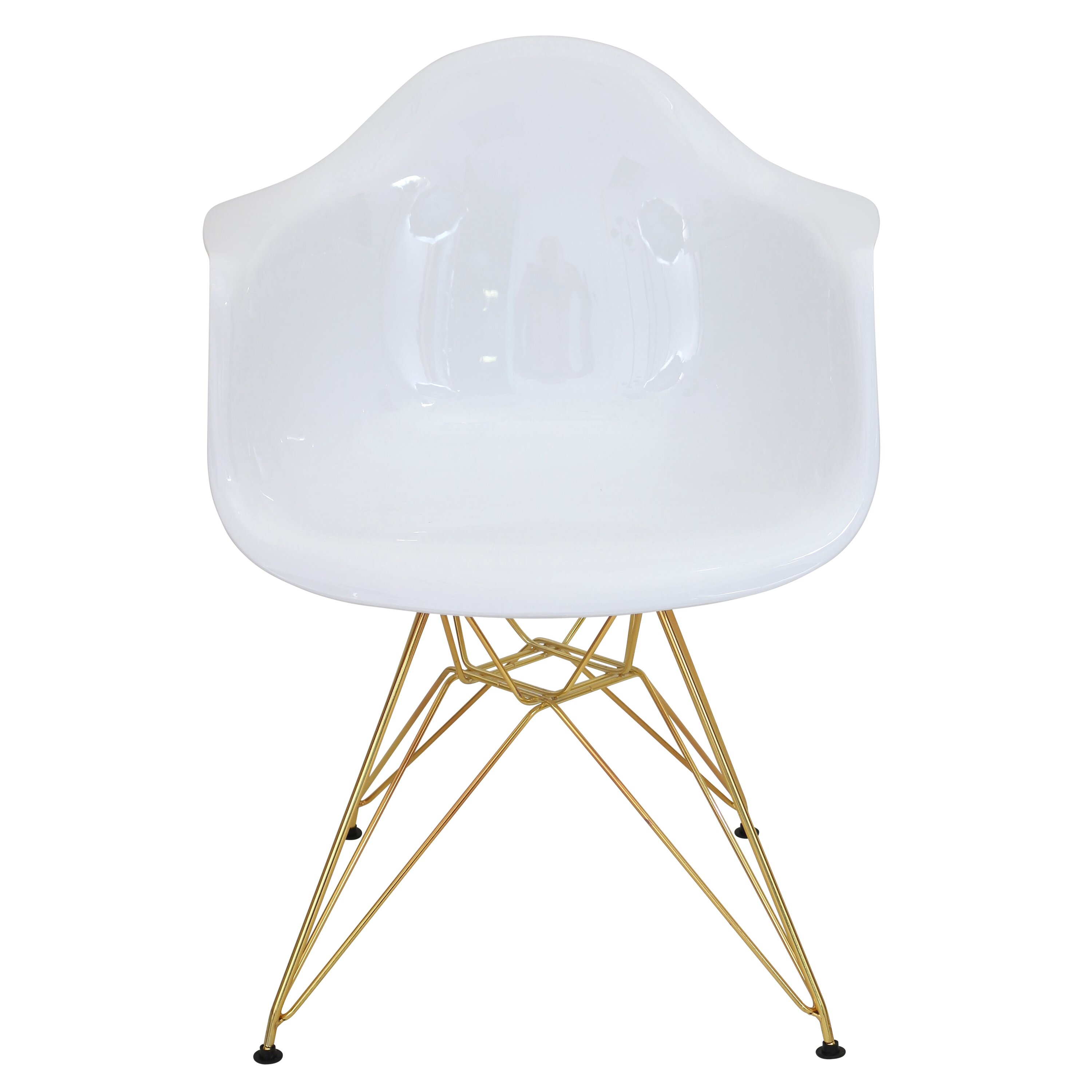 Worley White and Gold Arm Chair