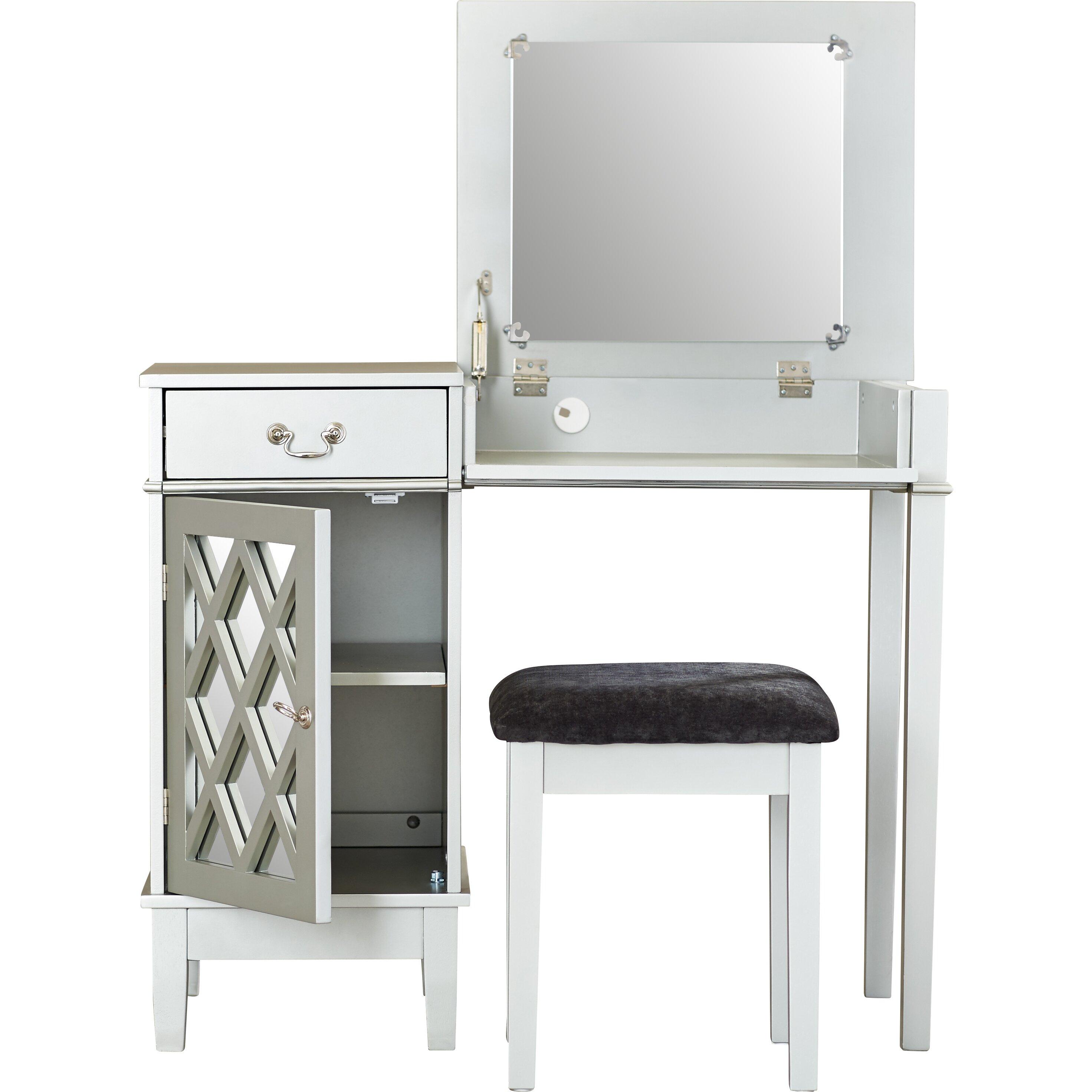 Bedroom Vanities Vanity Tables Sears. Vanity With Stool And Mirror   Bar Stools