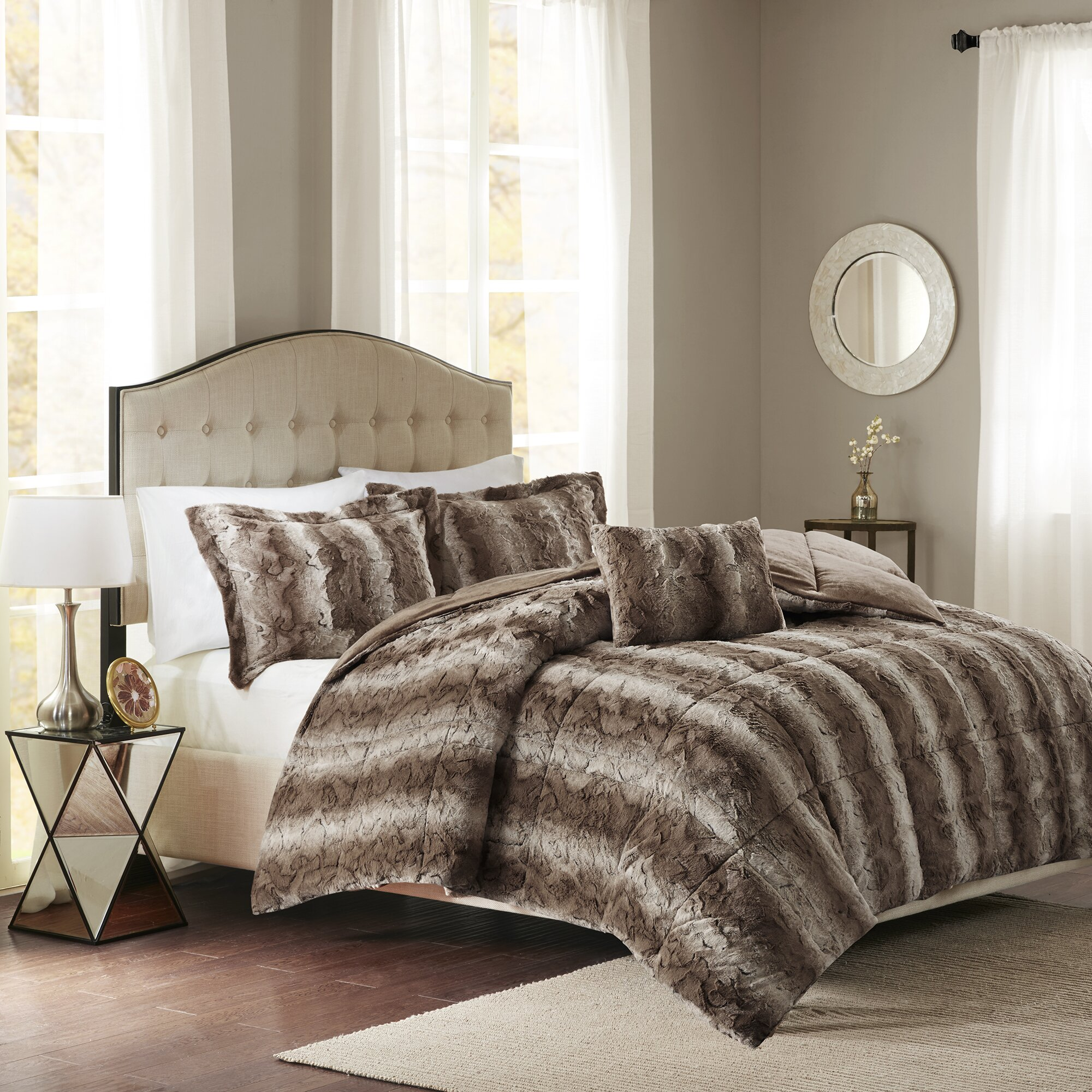 mercer41 morrison faux fur 4 piece comforter set reviews. Black Bedroom Furniture Sets. Home Design Ideas