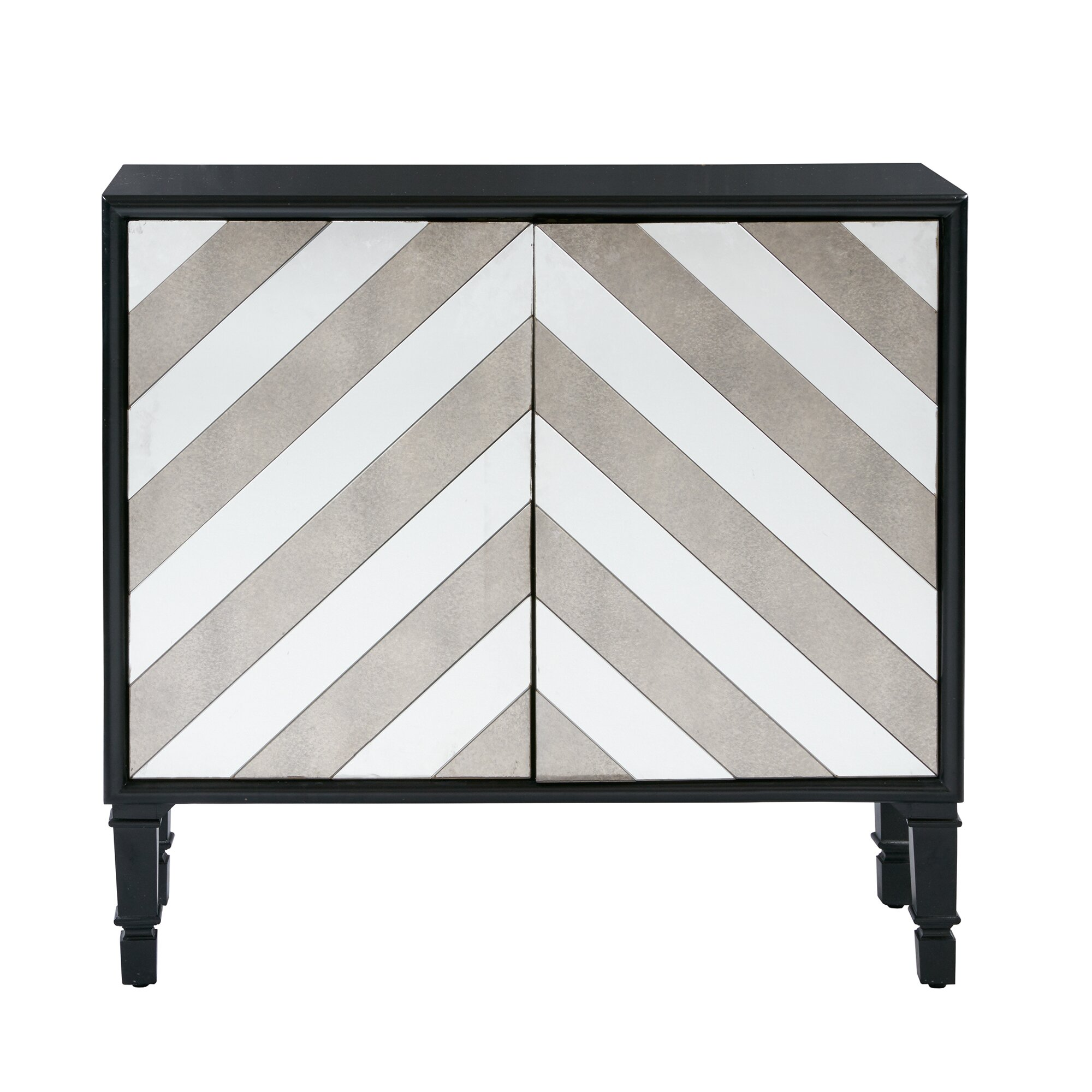 egan chevron mirrored accent chest  reviews  joss  main - mercer egan chevron mirrored accent chest