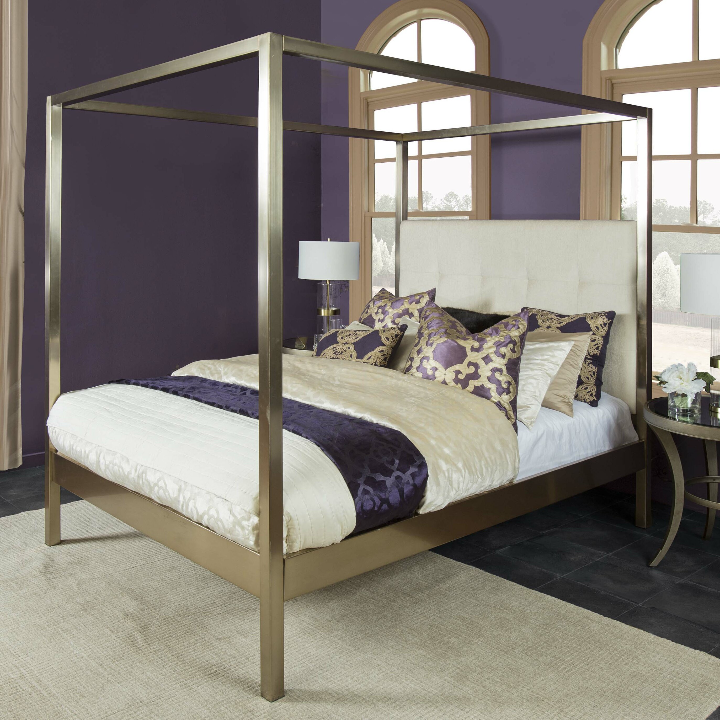 Canopy Beds You'll Love | Wayfair - Goethe Upholstered Canopy Bed