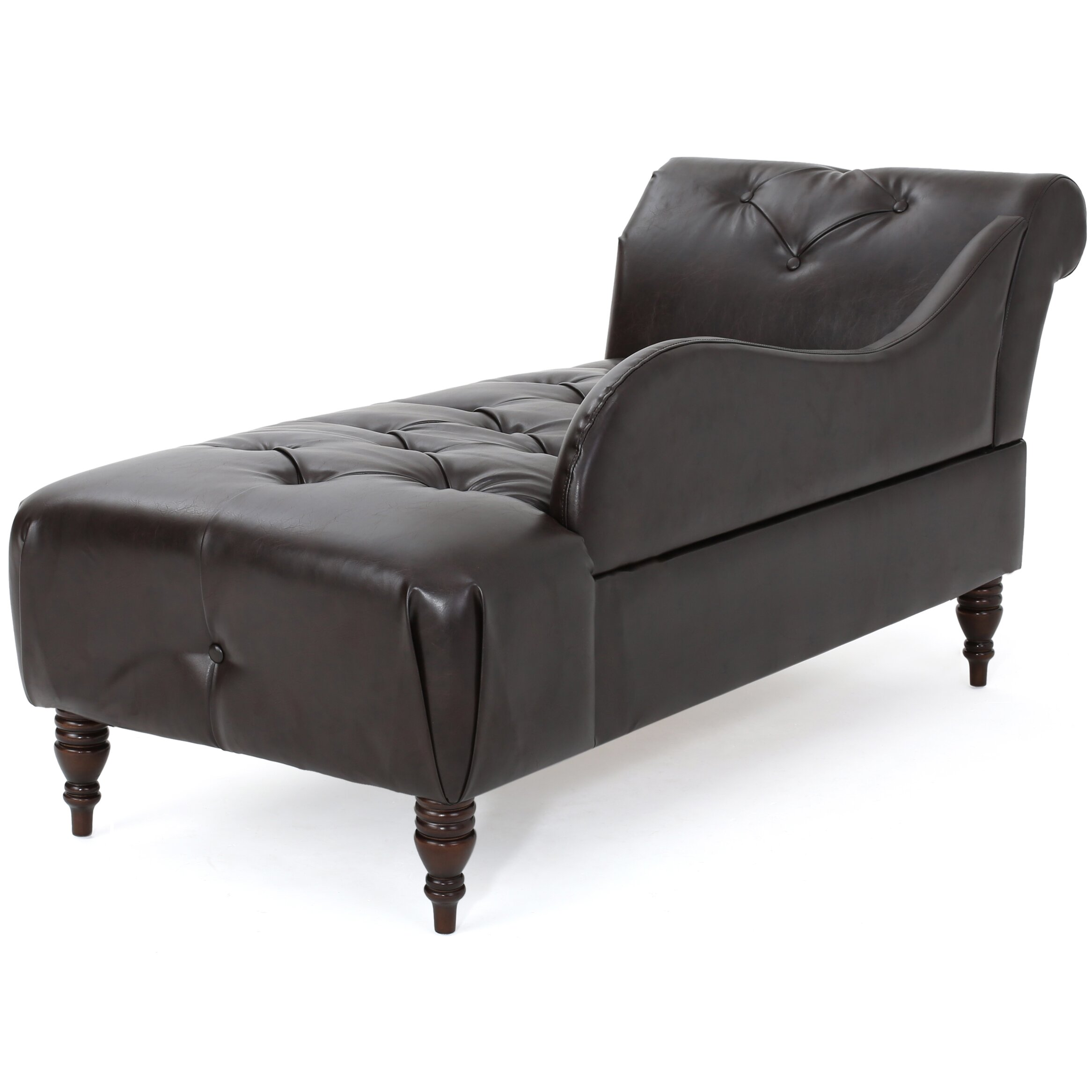 Mercer41 hurd leather tufted chaise lounge for Bellagio leather chaise lounge