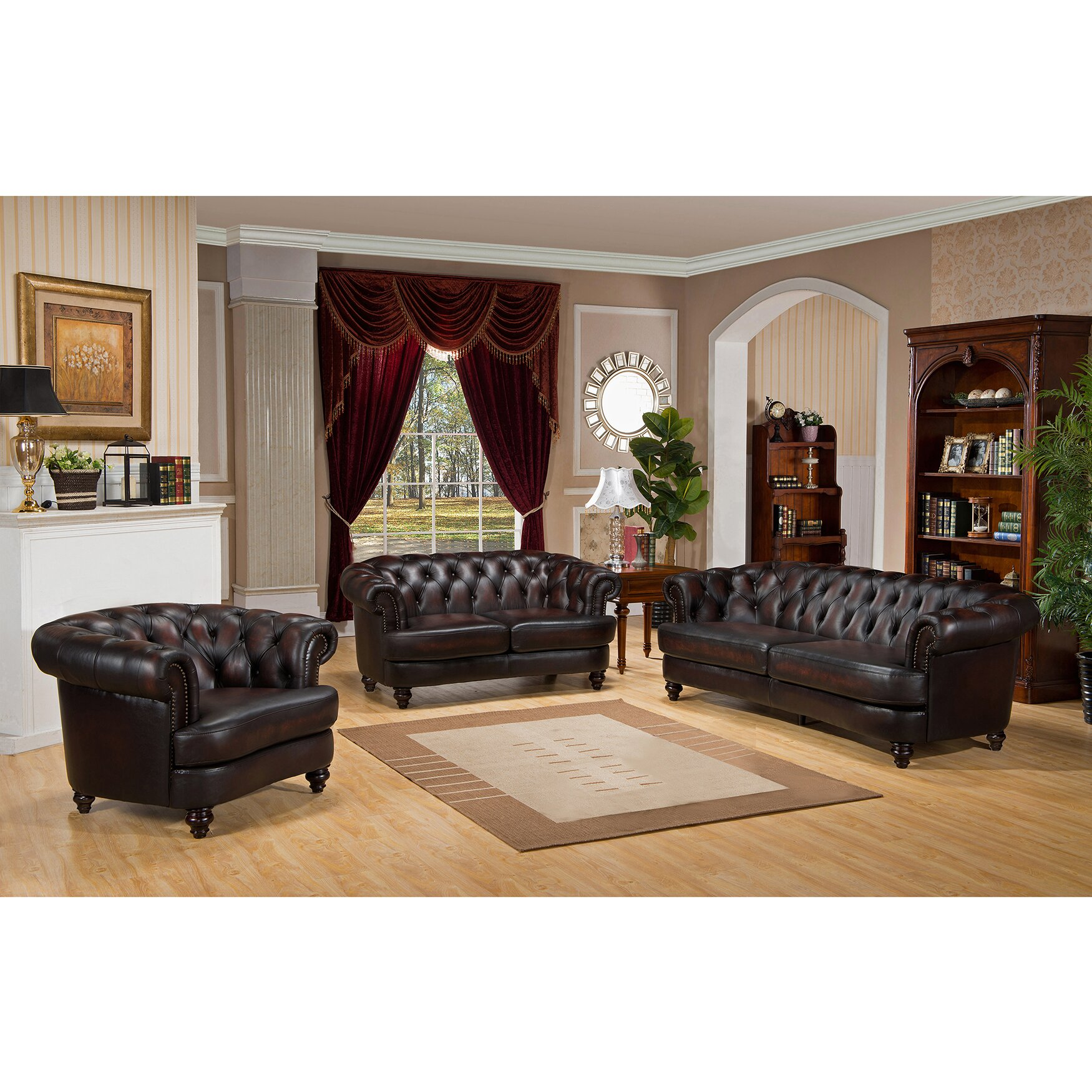 Leather Living Room Sets On Amax Roosevelt 3 Piece Leather Living Room Set Reviews Wayfair